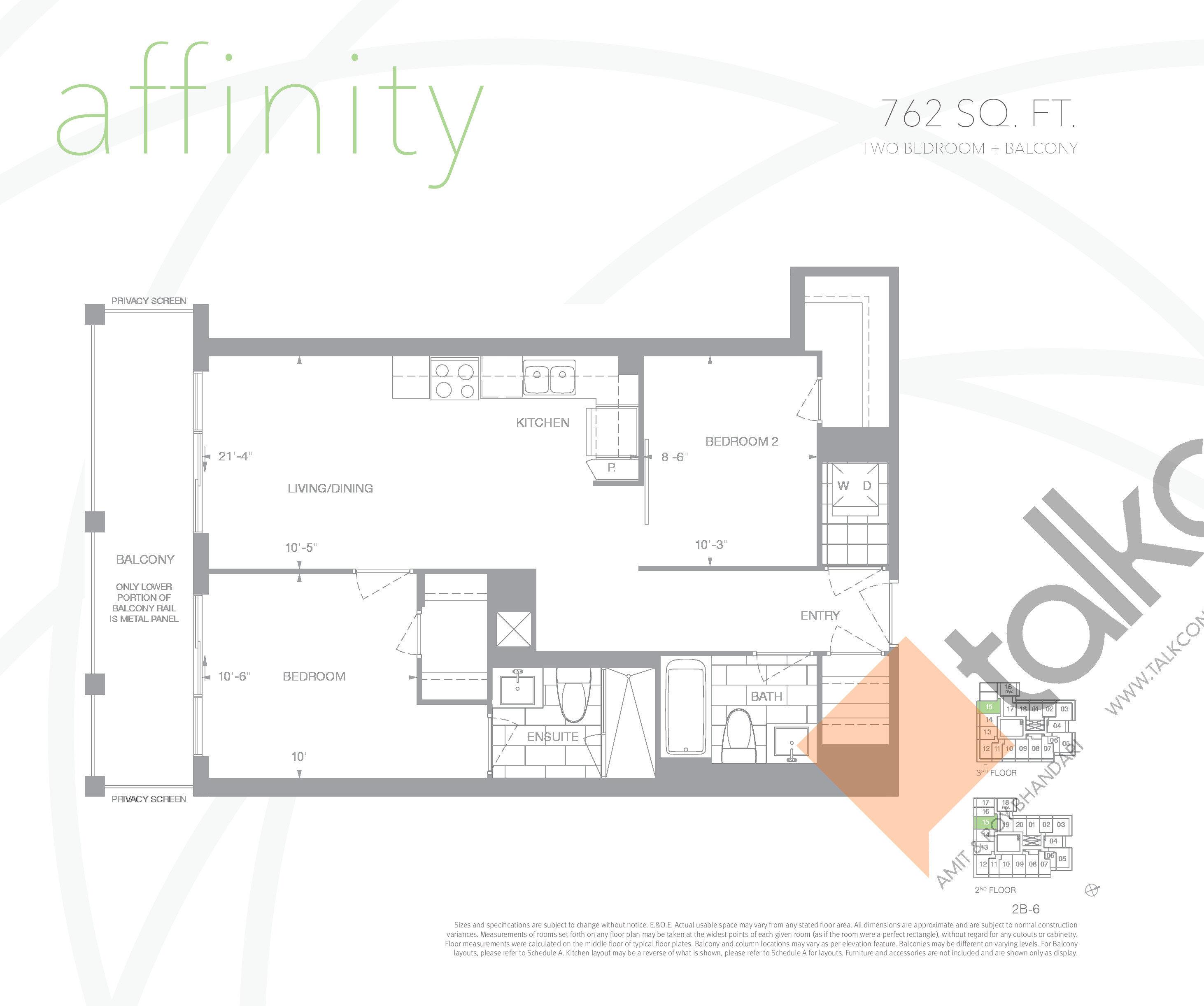 Affinity Floor Plan at Senses Condominiums - 762 sq.ft