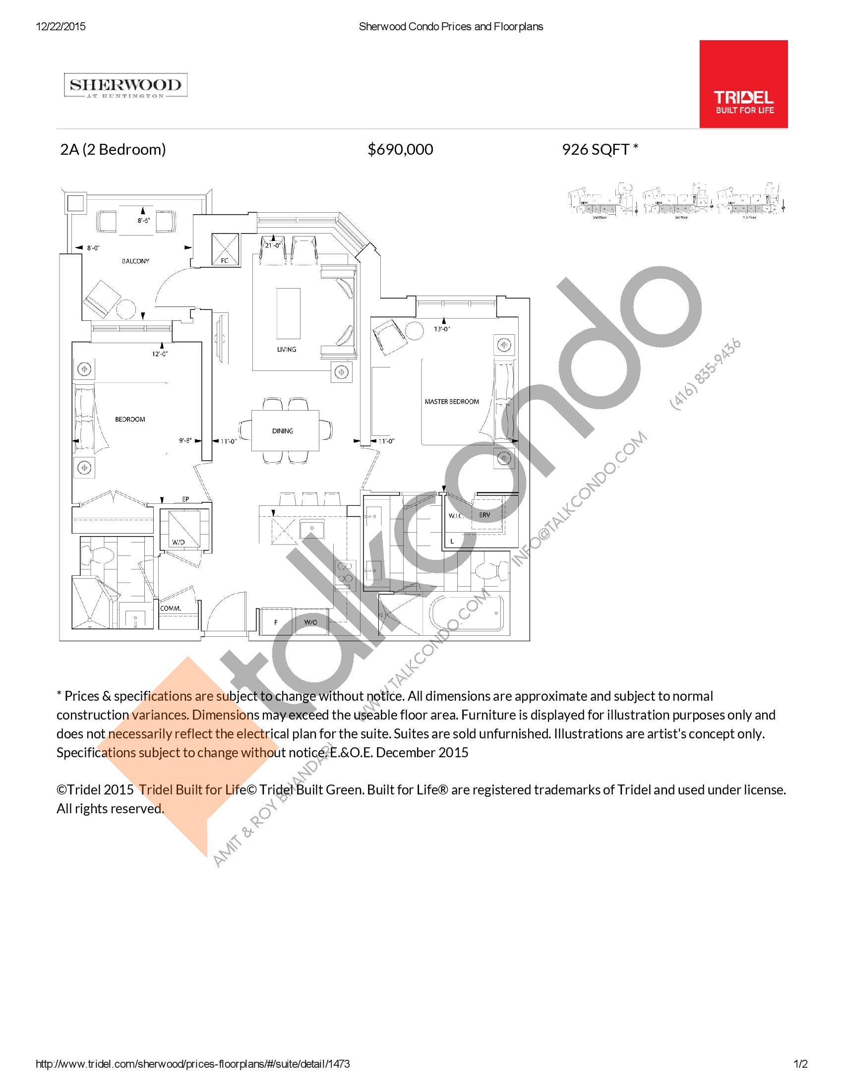 2A Floor Plan at Sherwood at Huntington Condos - 926 sq.ft