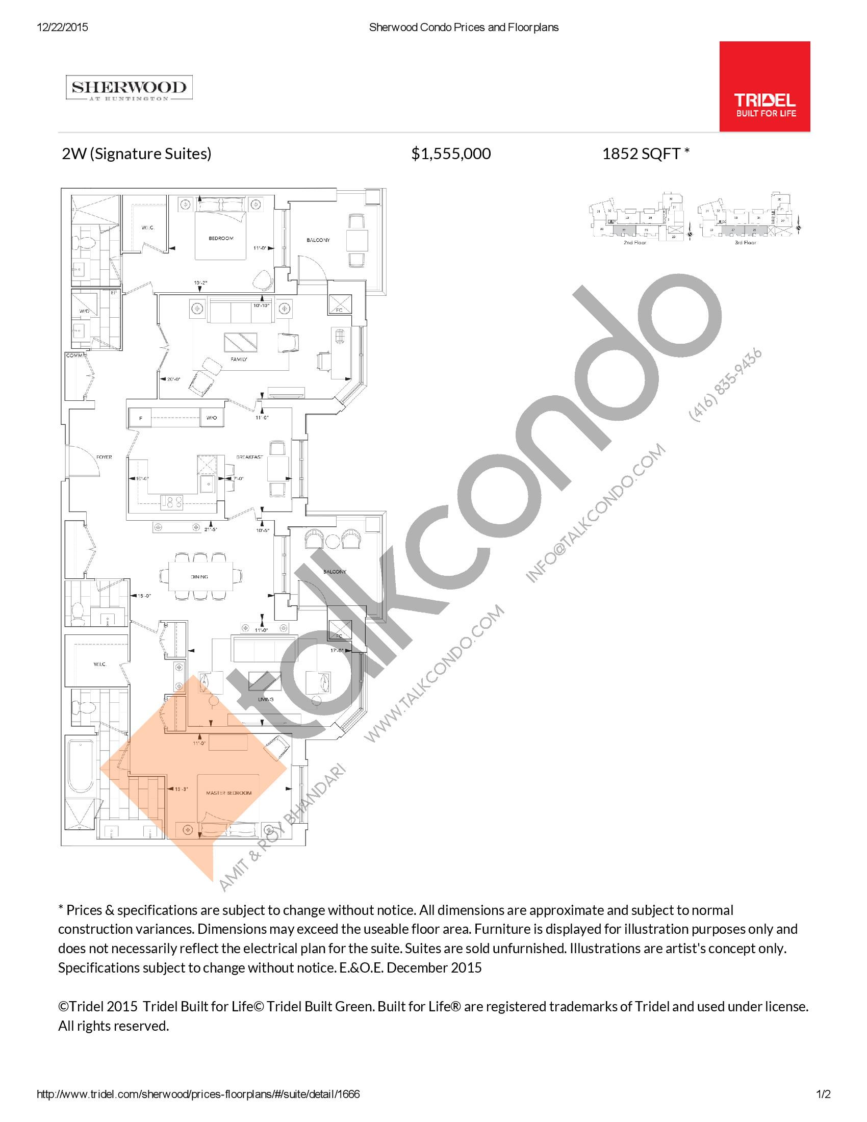 2W Floor Plan at Sherwood at Huntington Condos - 1852 sq.ft