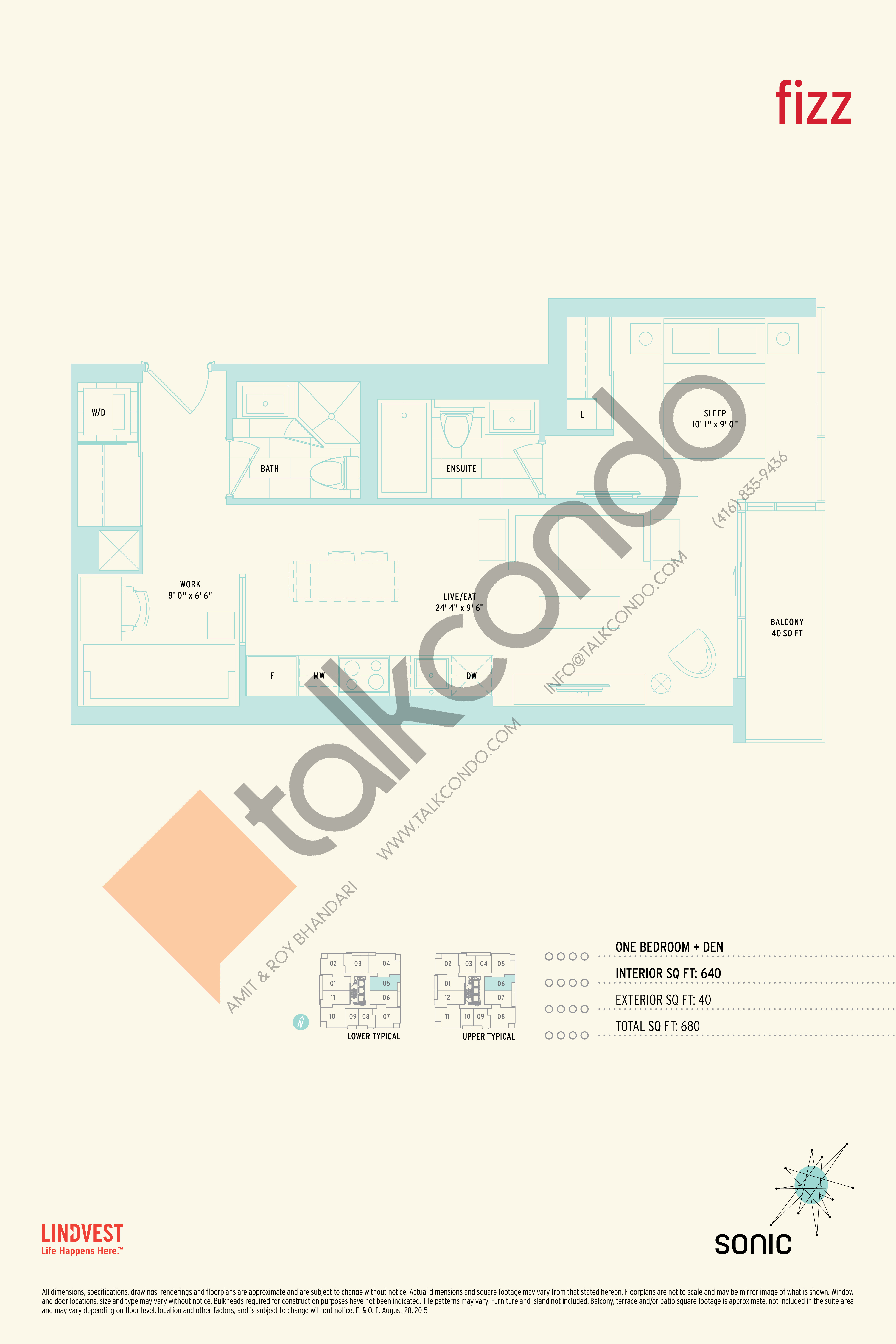 Fizz Floor Plan at Sonic Condos - 640 sq.ft