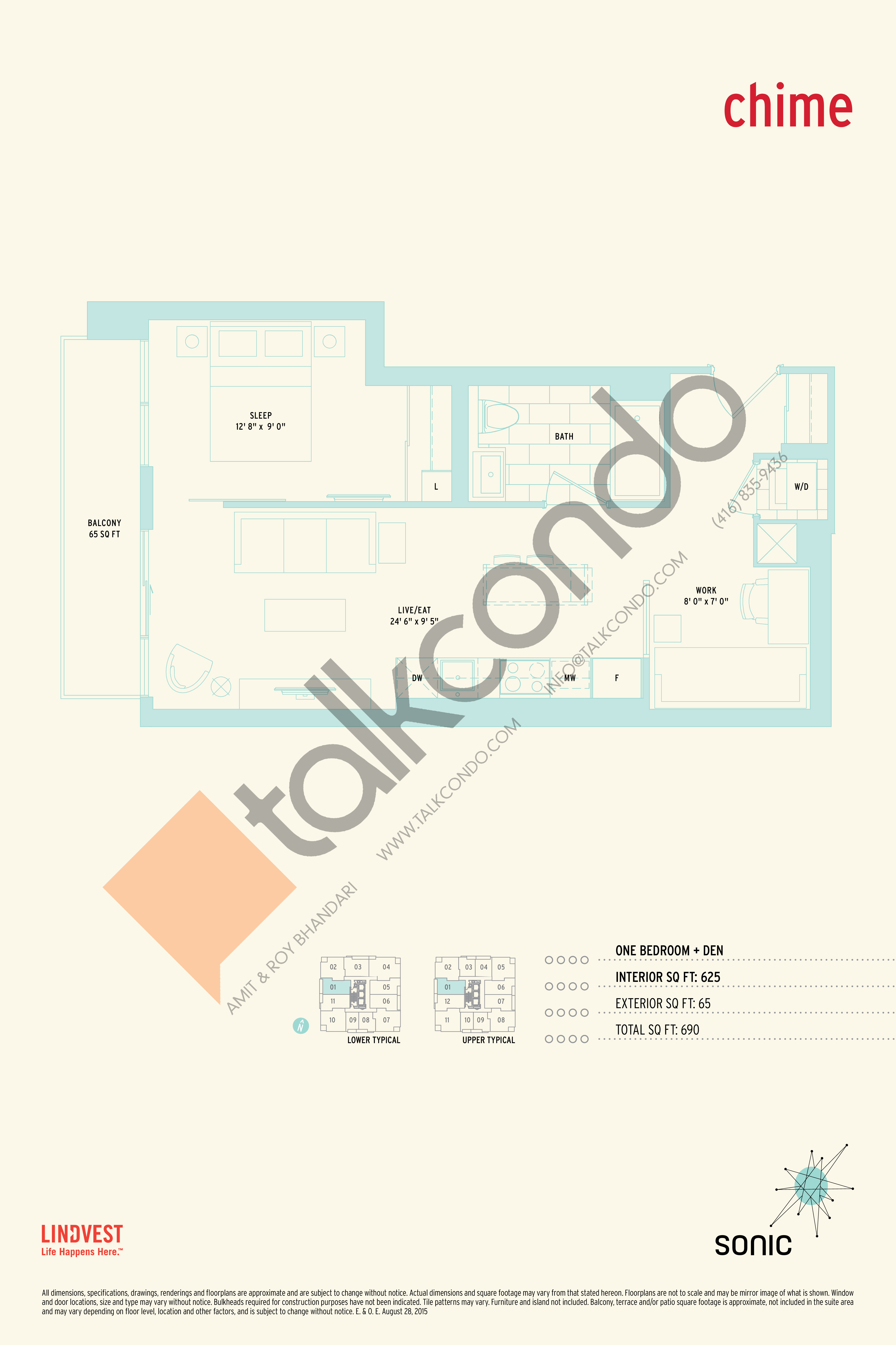 Chime Floor Plan at Sonic Condos - 625 sq.ft