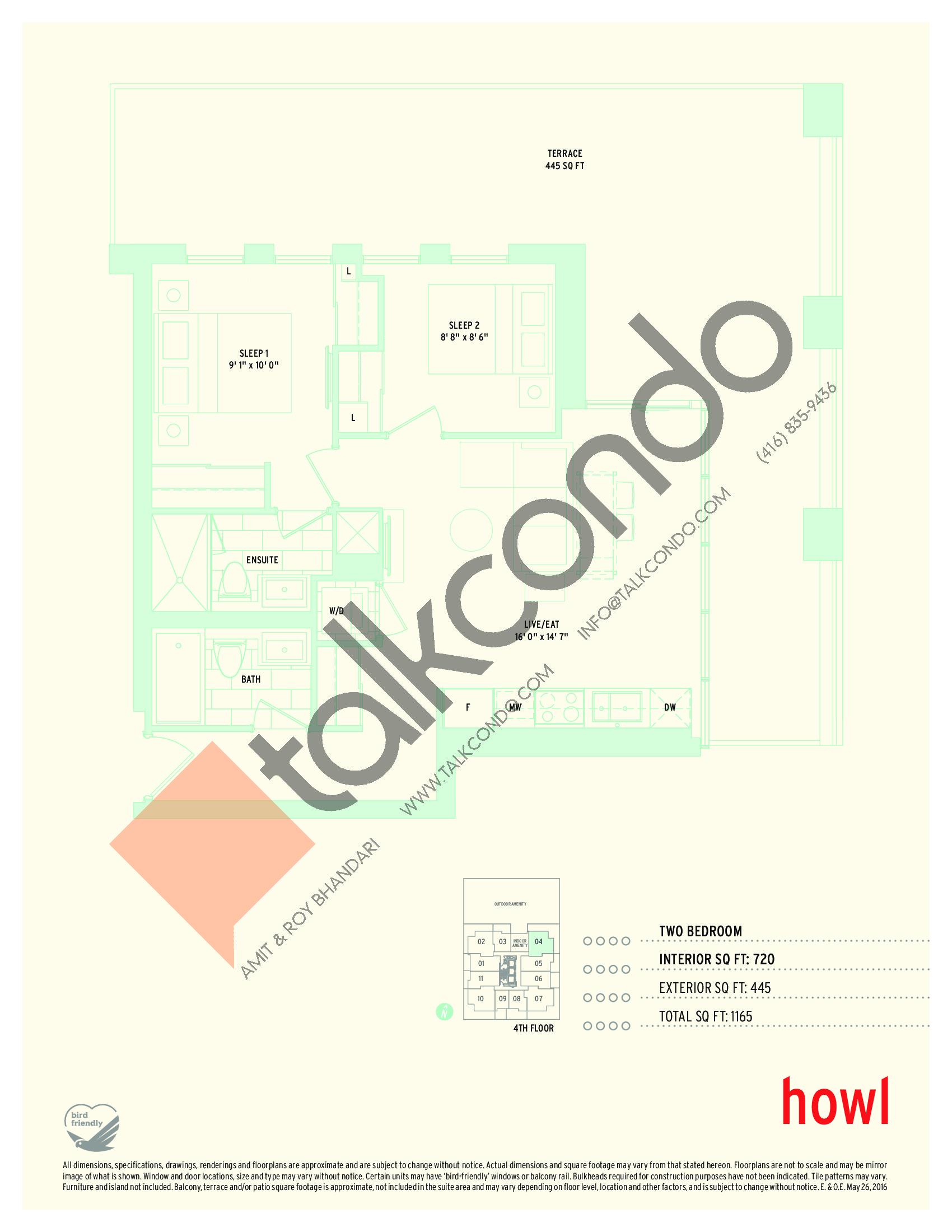 Howl Floor Plan at Sonic Condos - 720 sq.ft