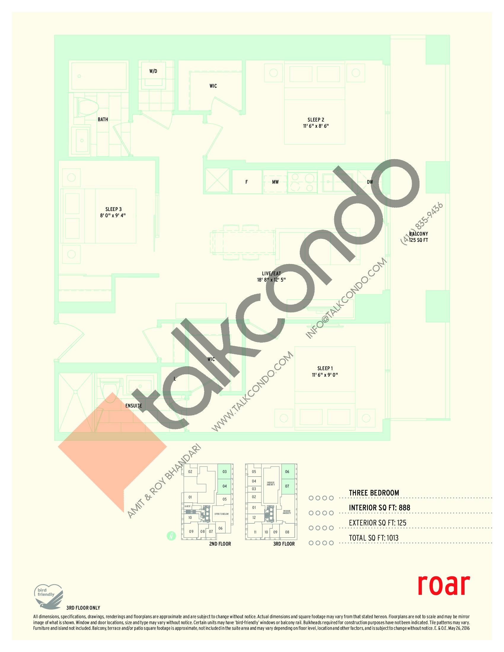 Roar Floor Plan at Sonic Condos - 888 sq.ft