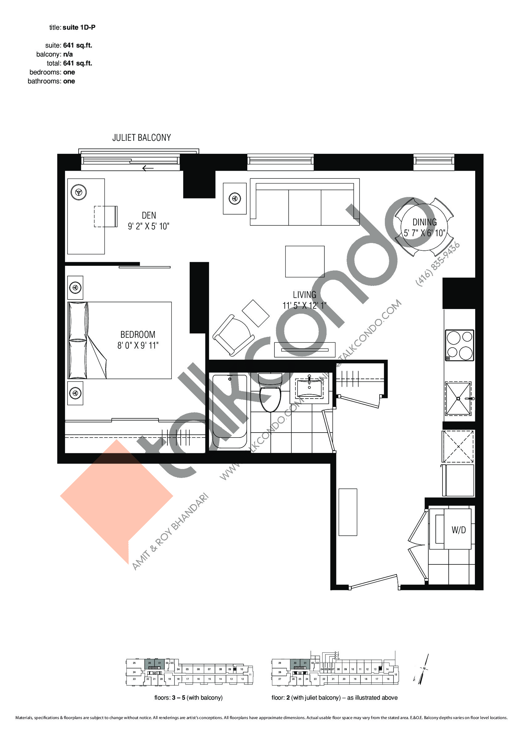 Suite 1D-P Floor Plan at Studio 2 Condos - 641 sq.ft