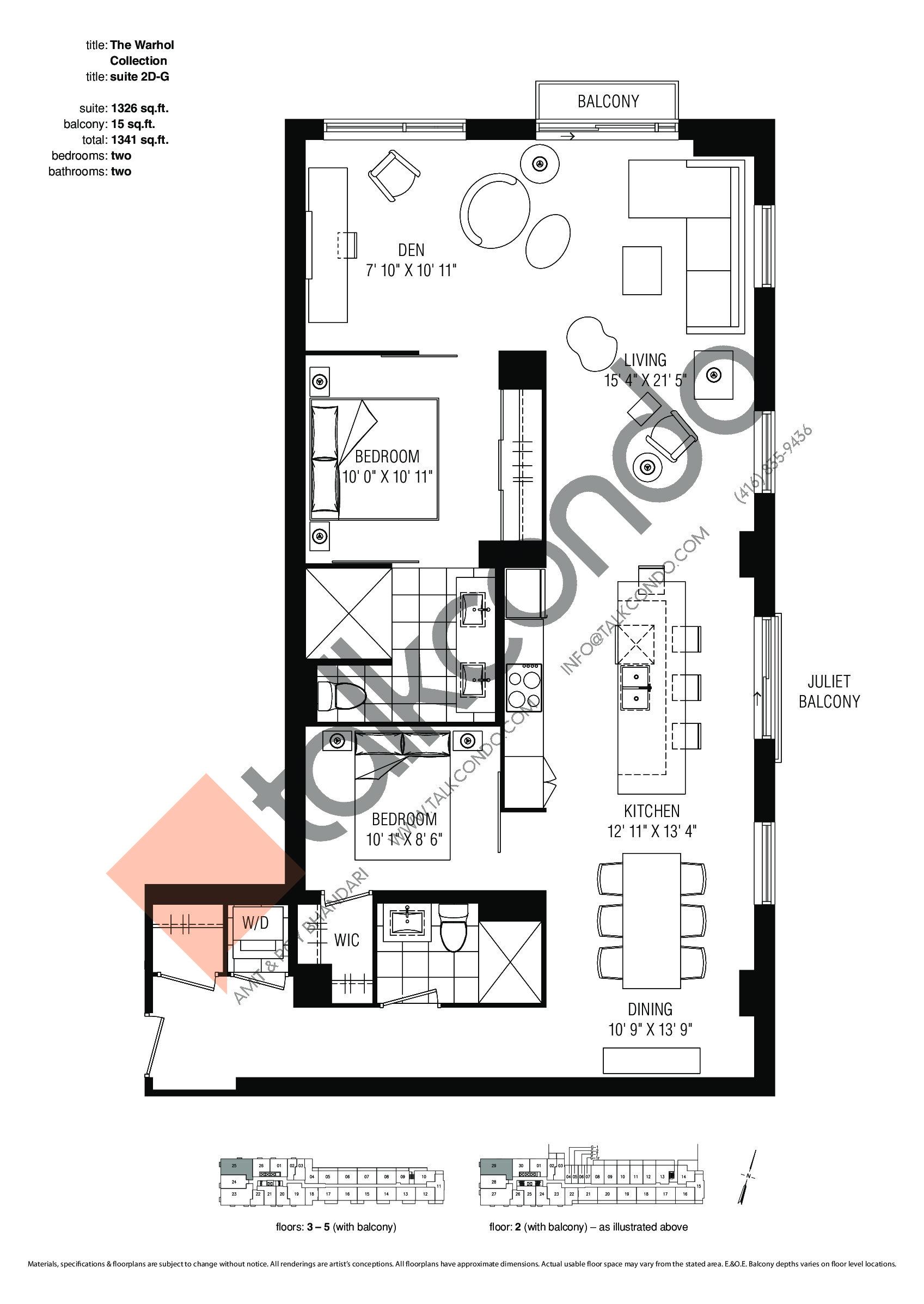 Suite 2D-G Floor Plan at Studio 2 Condos - 1326 sq.ft