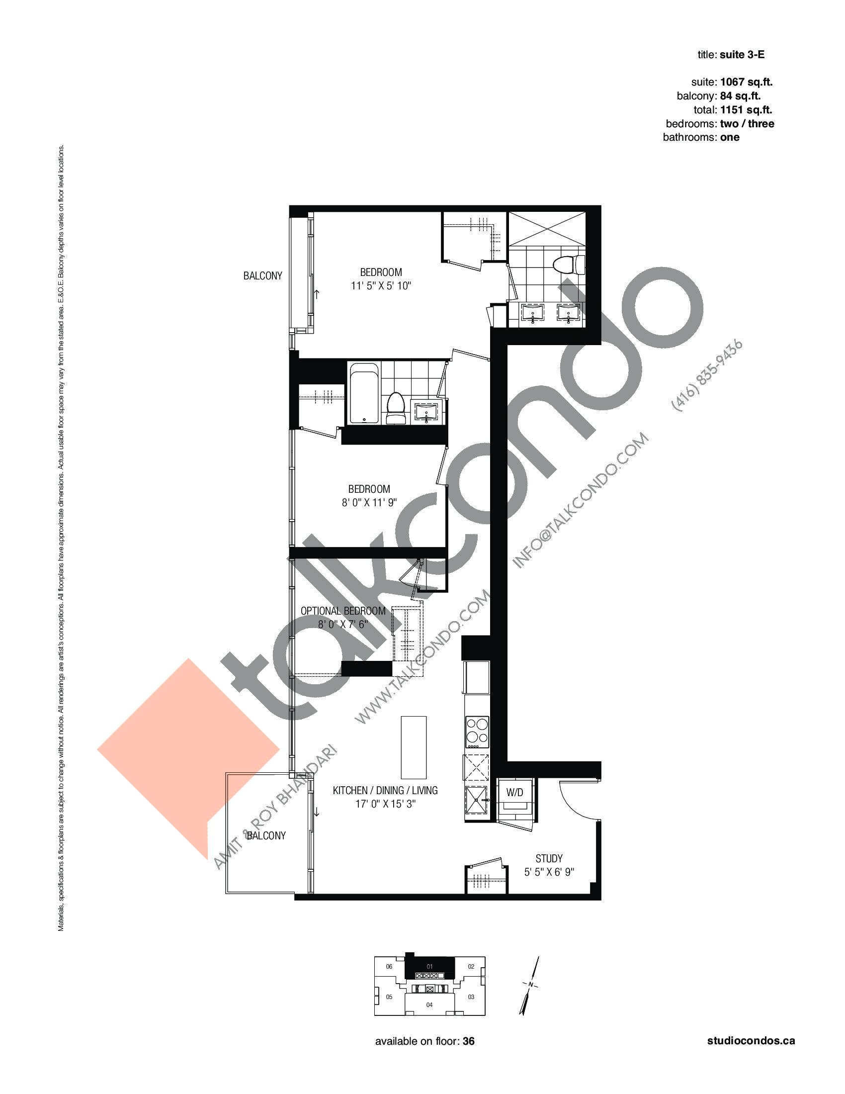 Suite 3-E Floor Plan at Studio 2 Condos - 1067 sq.ft