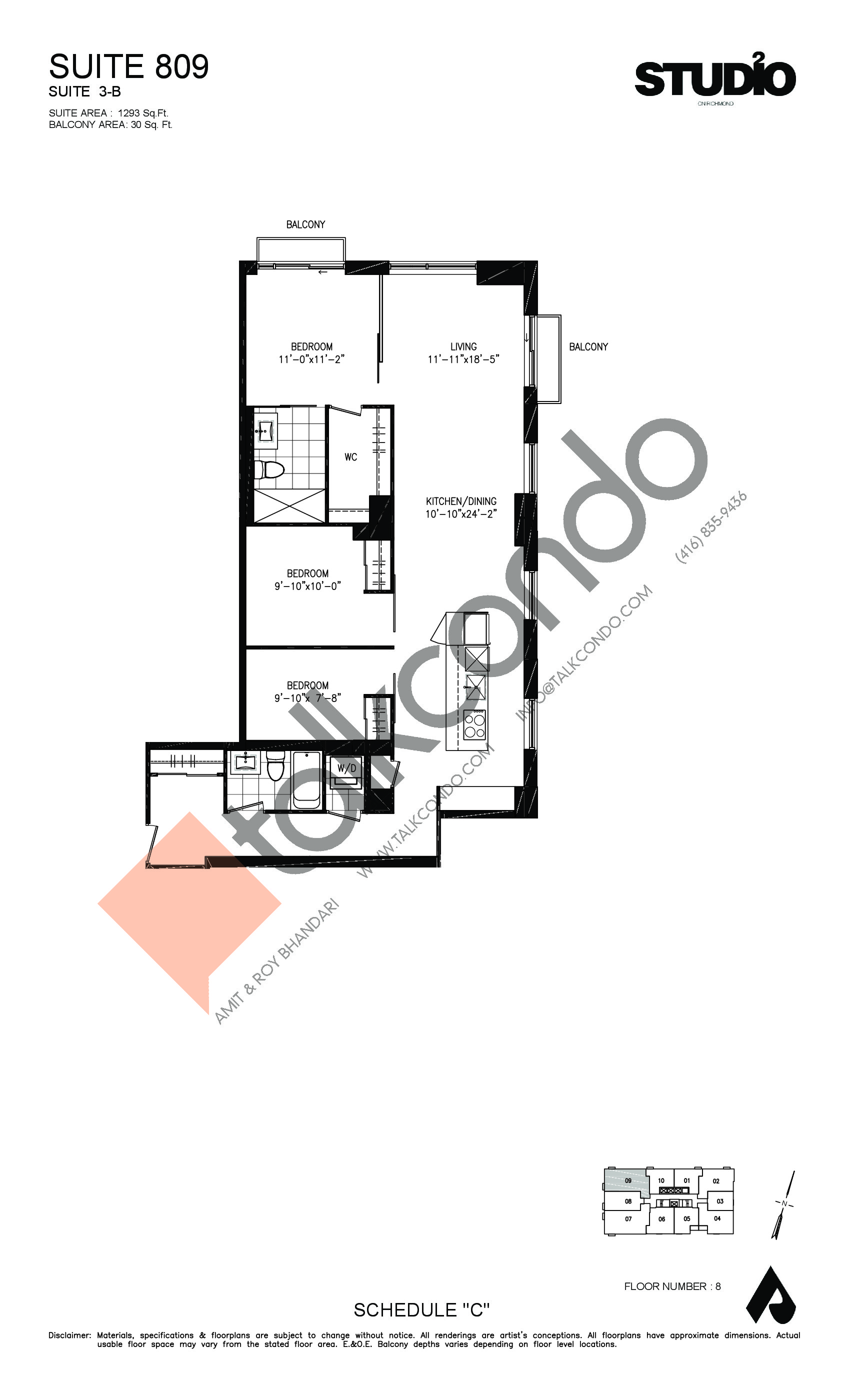 Suite 809 - 3-B Floor Plan at Studio 2 Condos - 1293 sq.ft