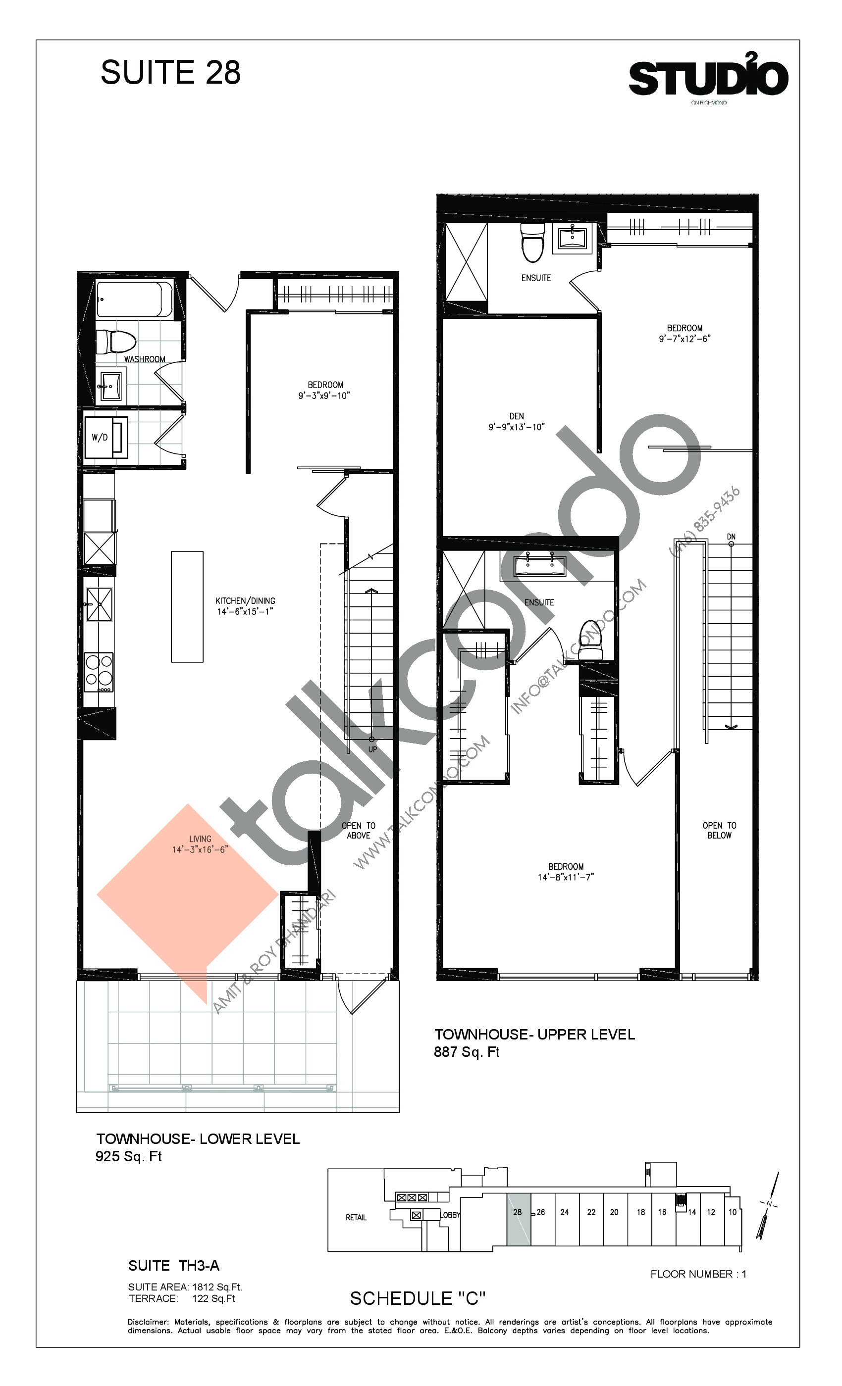 Suite 28 - TH3-A Floor Plan at Studio 2 Condos - 1812 sq.ft