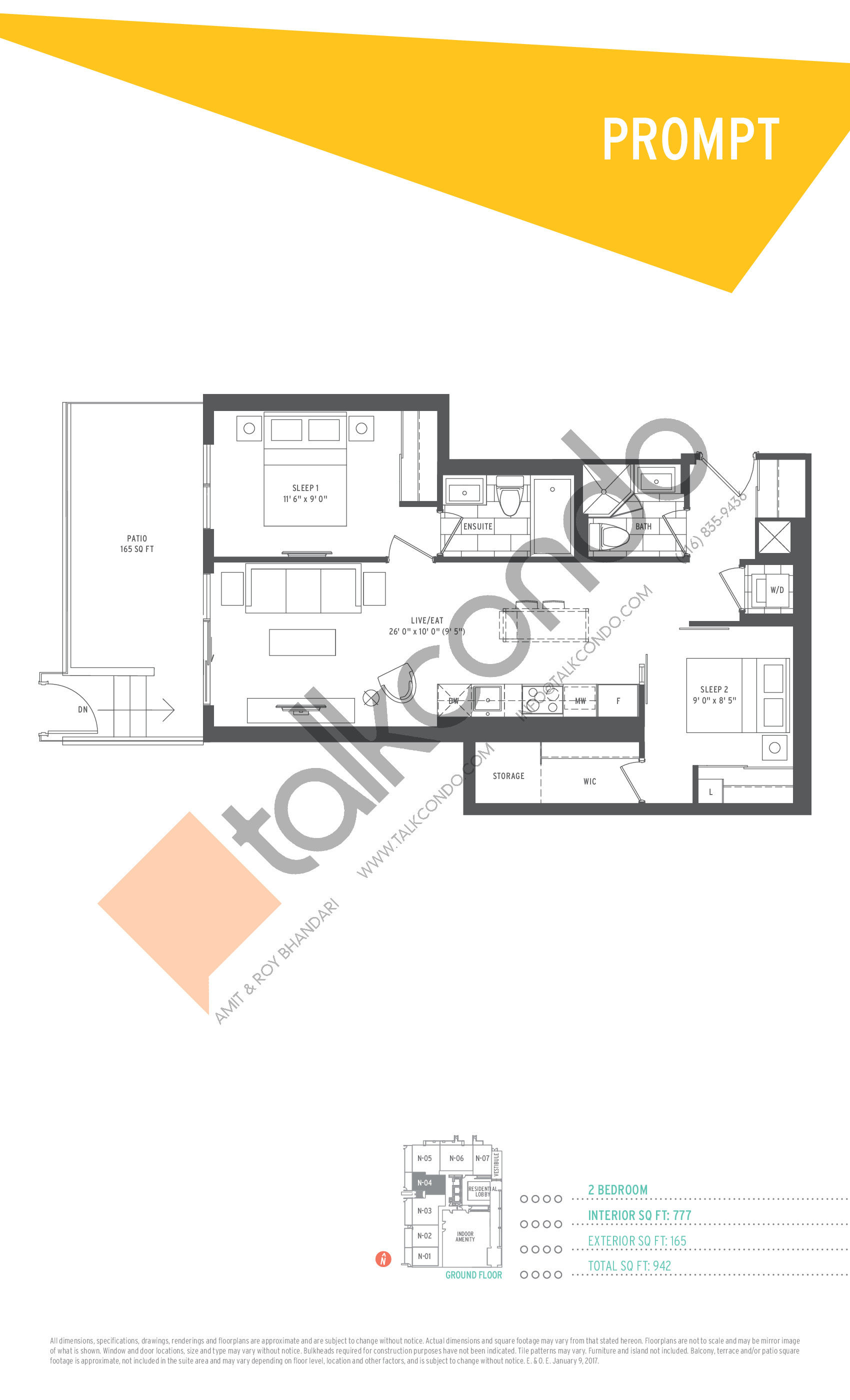 Prompt Floor Plan at SuperSonic Condos - 777 sq.ft