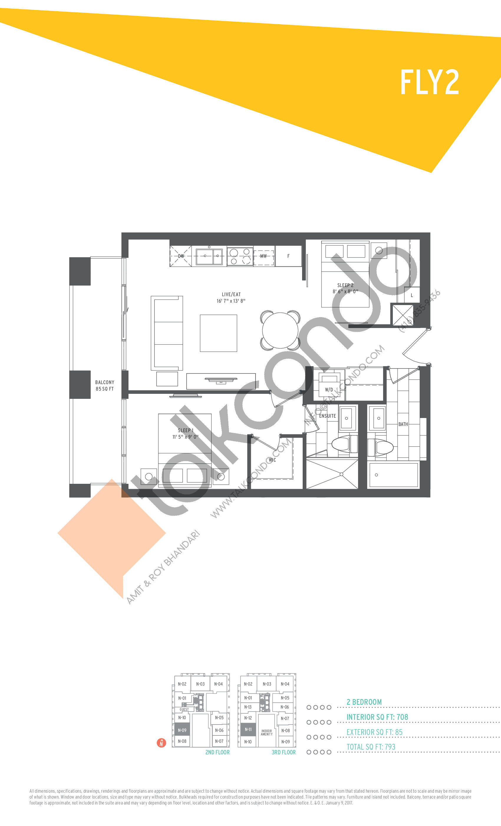 Fly2 Floor Plan at SuperSonic Condos - 708 sq.ft
