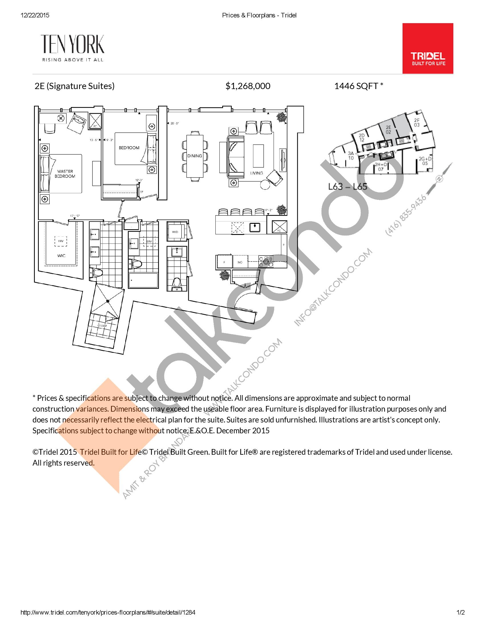 2E Floor Plan at Ten York Condos - 1446 sq.ft