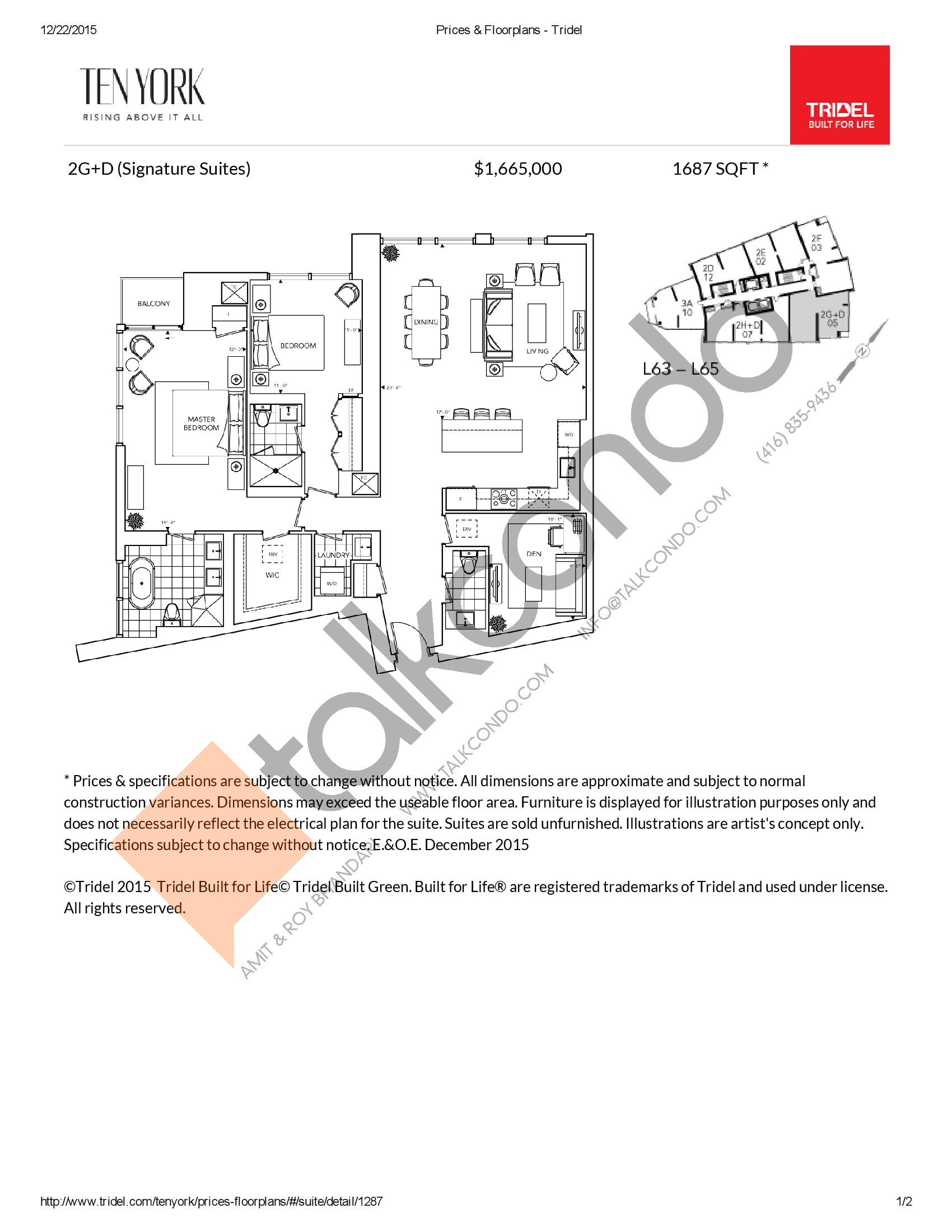 2G+D Floor Plan at Ten York Condos - 1687 sq.ft