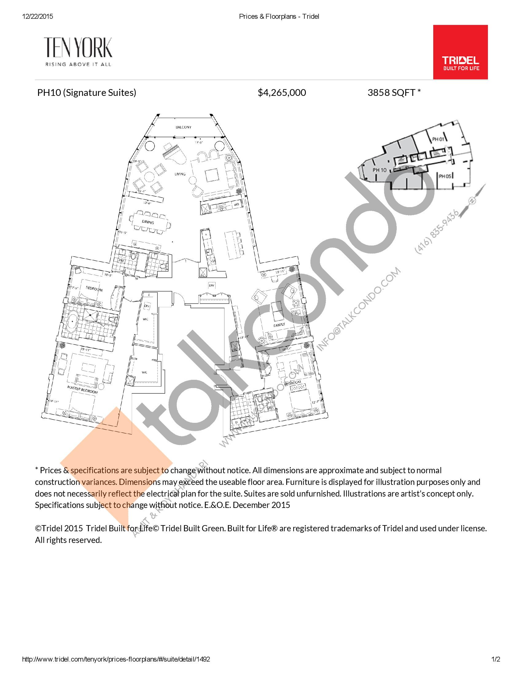 PH10 Floor Plan at Ten York Condos - 3858 sq.ft