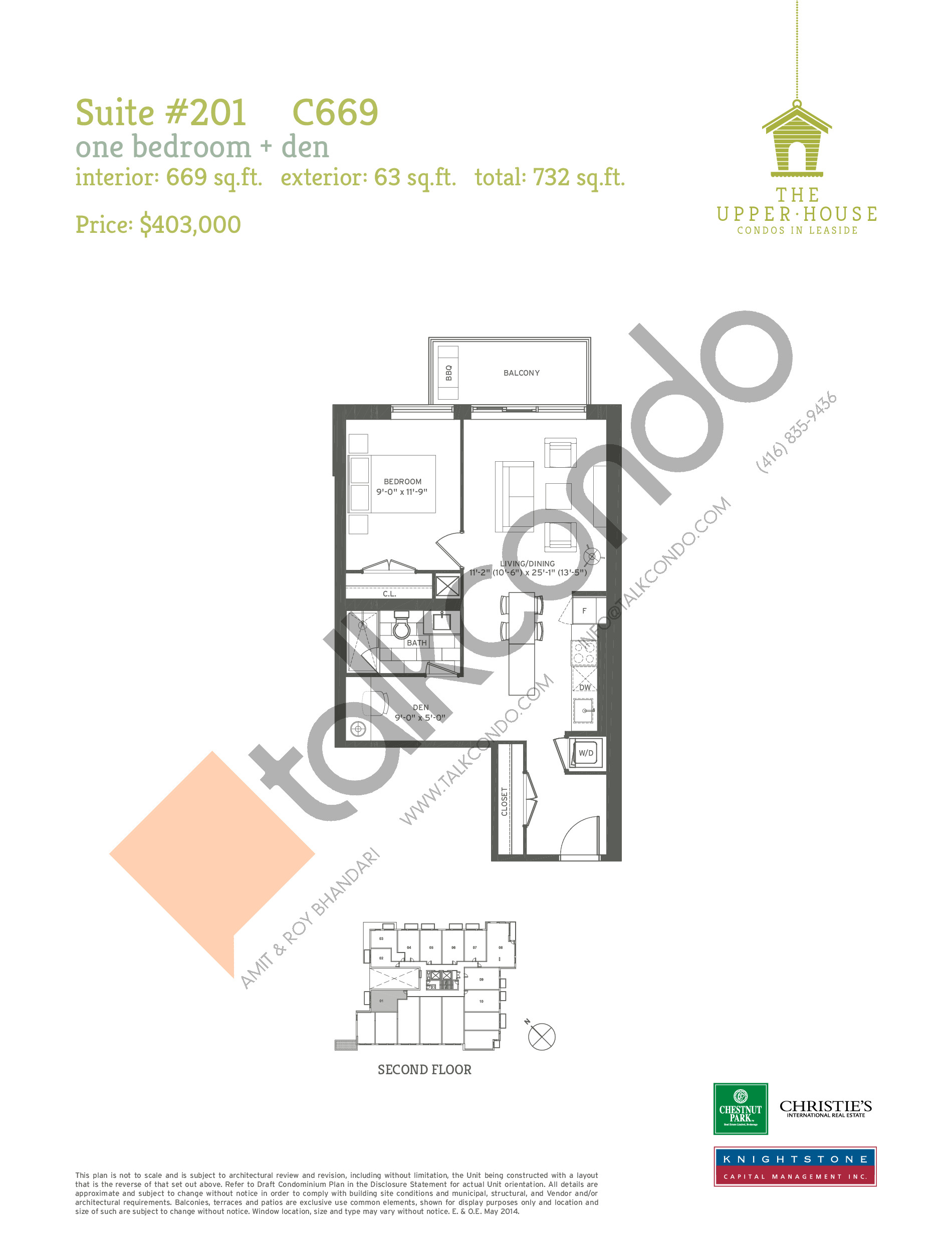 C669 Floor Plan at The Upper House Condos - 669 sq.ft