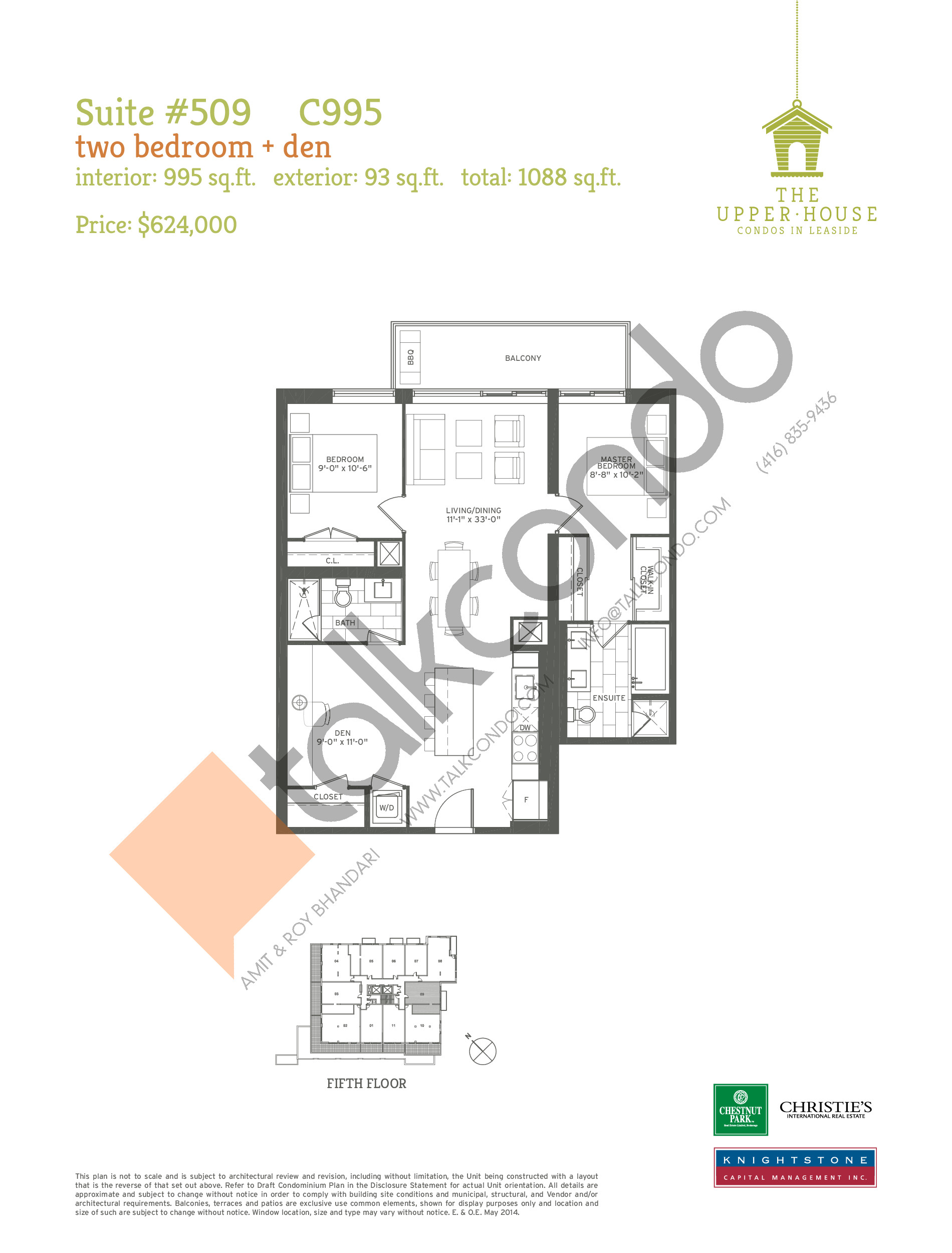 C995 Floor Plan at The Upper House Condos - 995 sq.ft