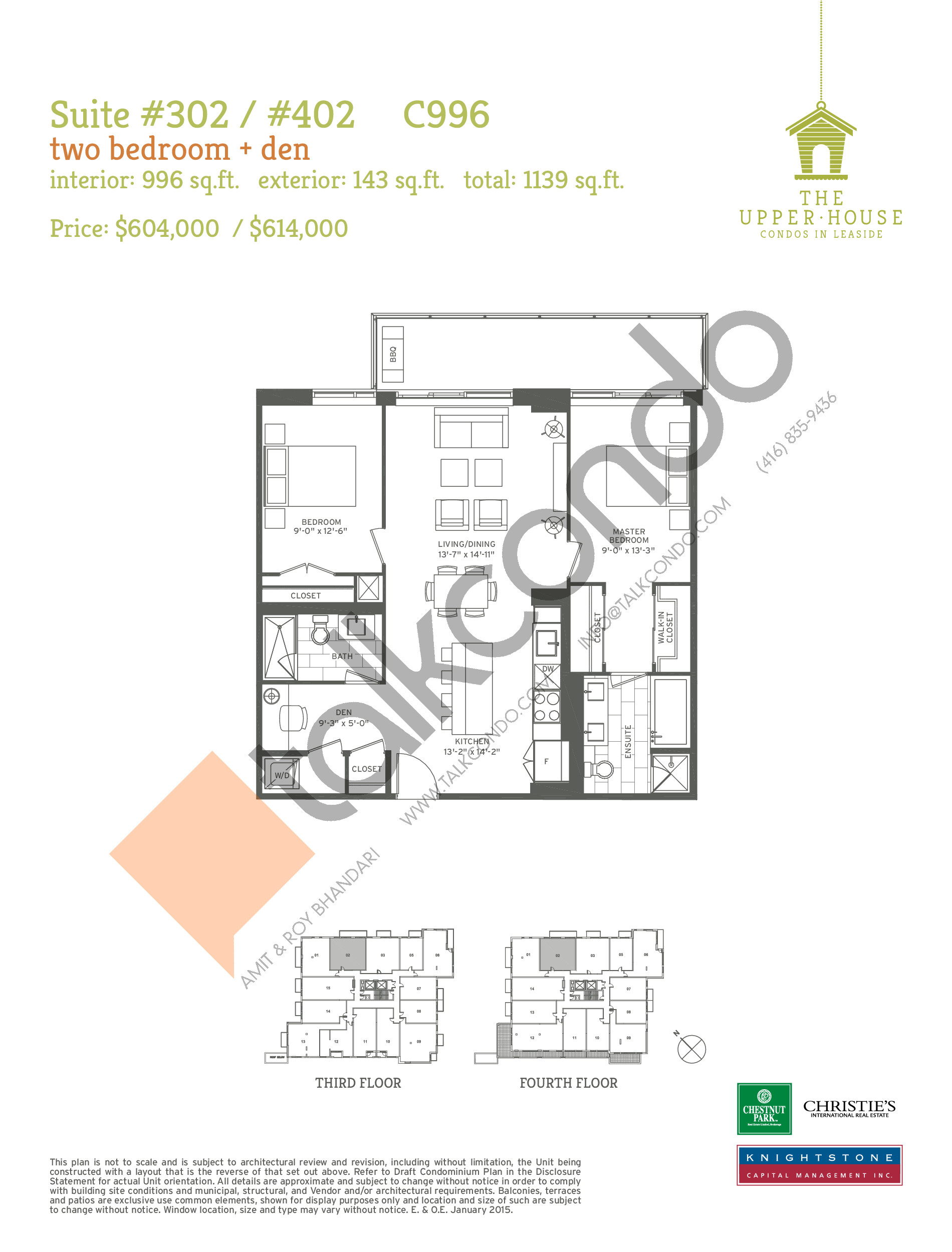 C996 Floor Plan at The Upper House Condos - 996 sq.ft