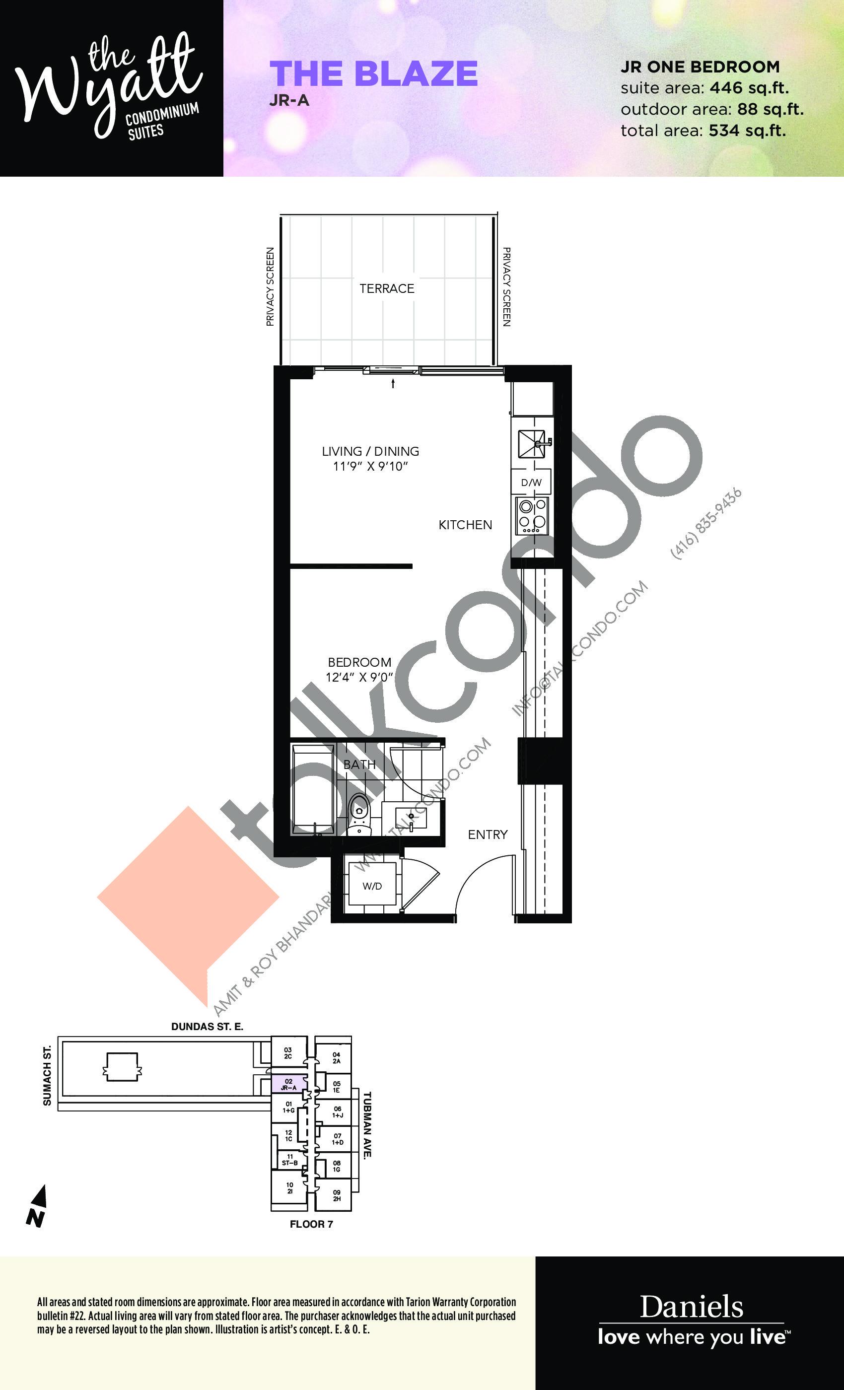 The Blaze Floor Plan at The Wyatt Condos - 446 sq.ft