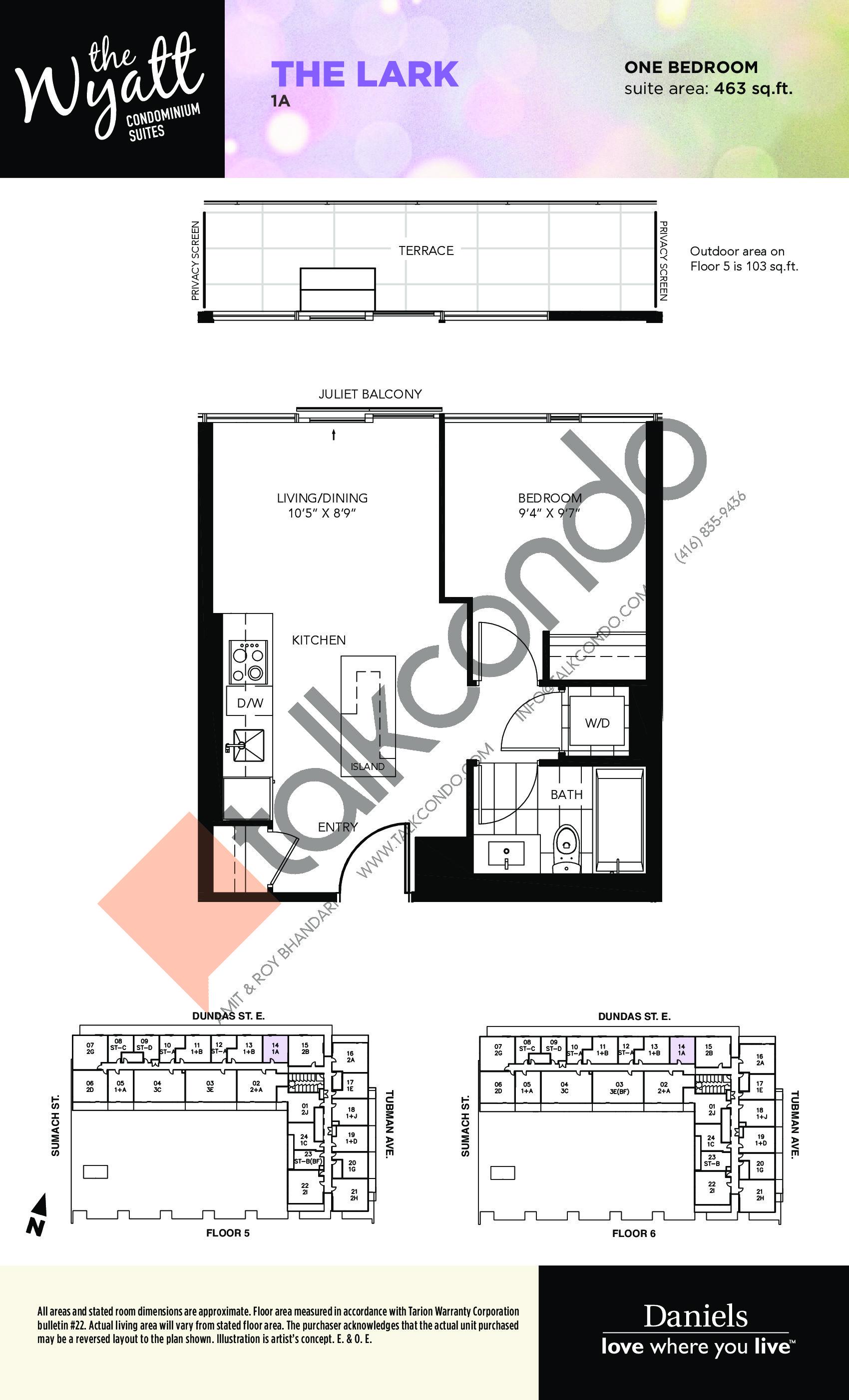 The Lark Floor Plan at The Wyatt Condos - 463 sq.ft