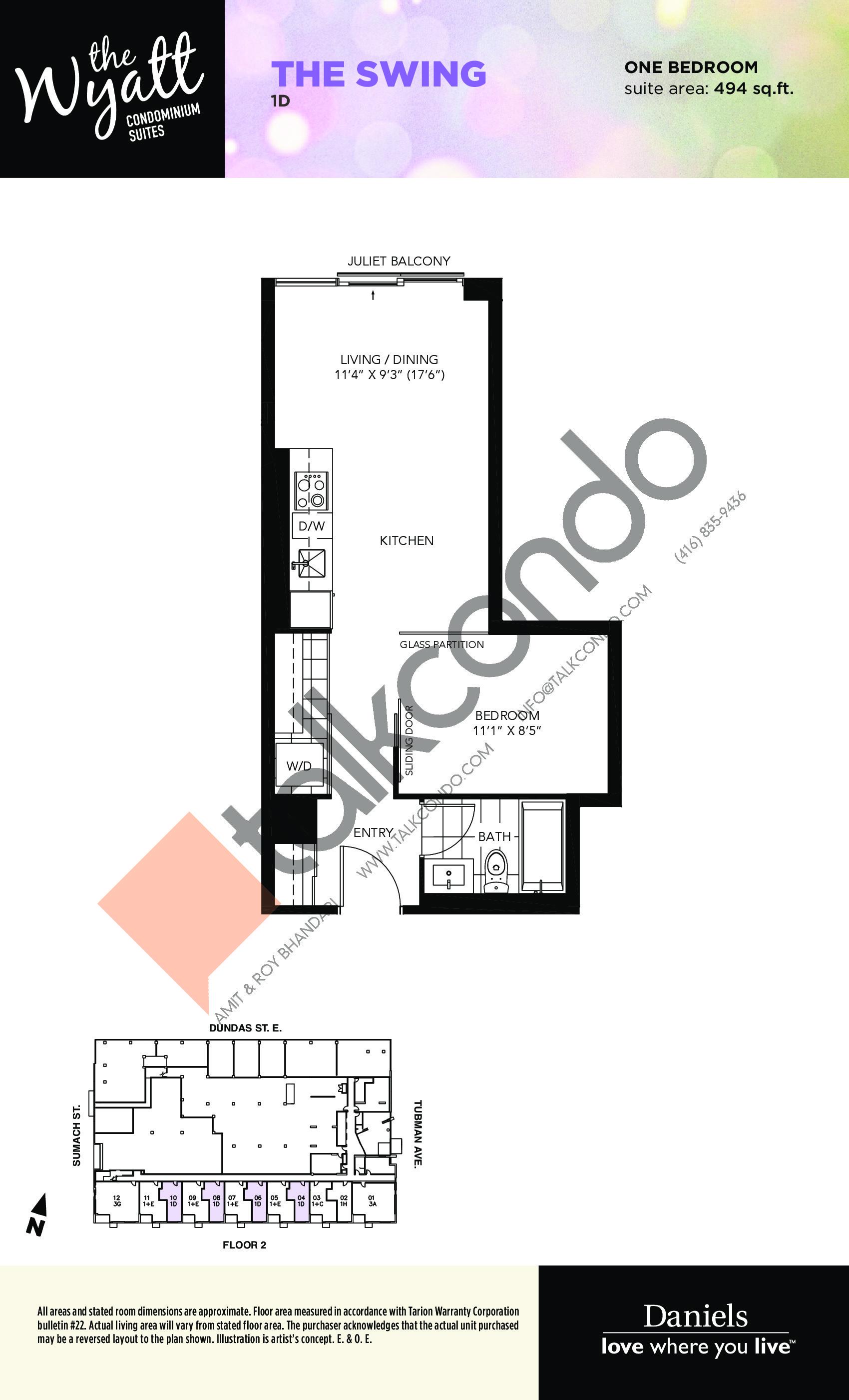 The Swing Floor Plan at The Wyatt Condos - 494 sq.ft