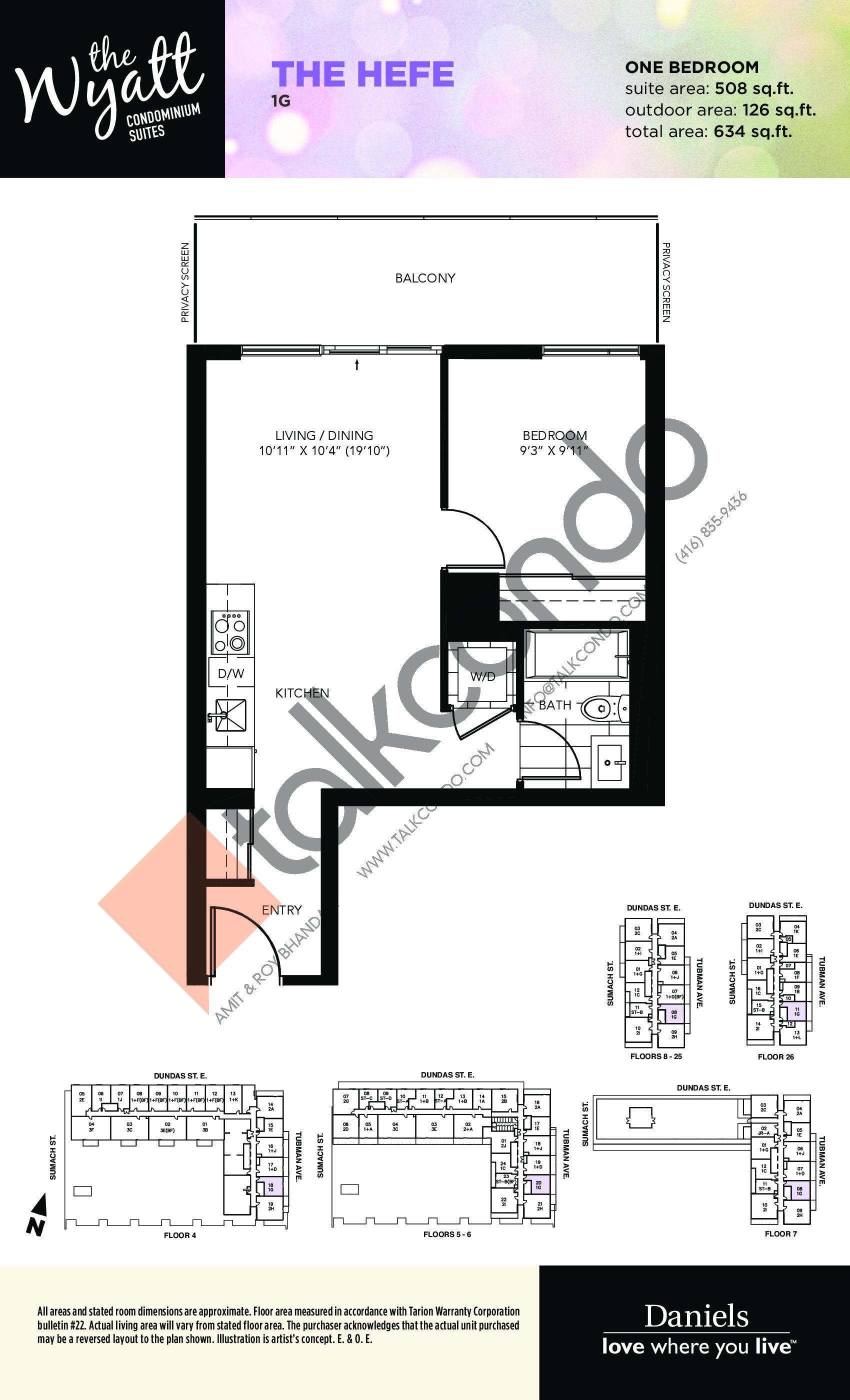 The Hefe Floor Plan at The Wyatt Condos - 508 sq.ft