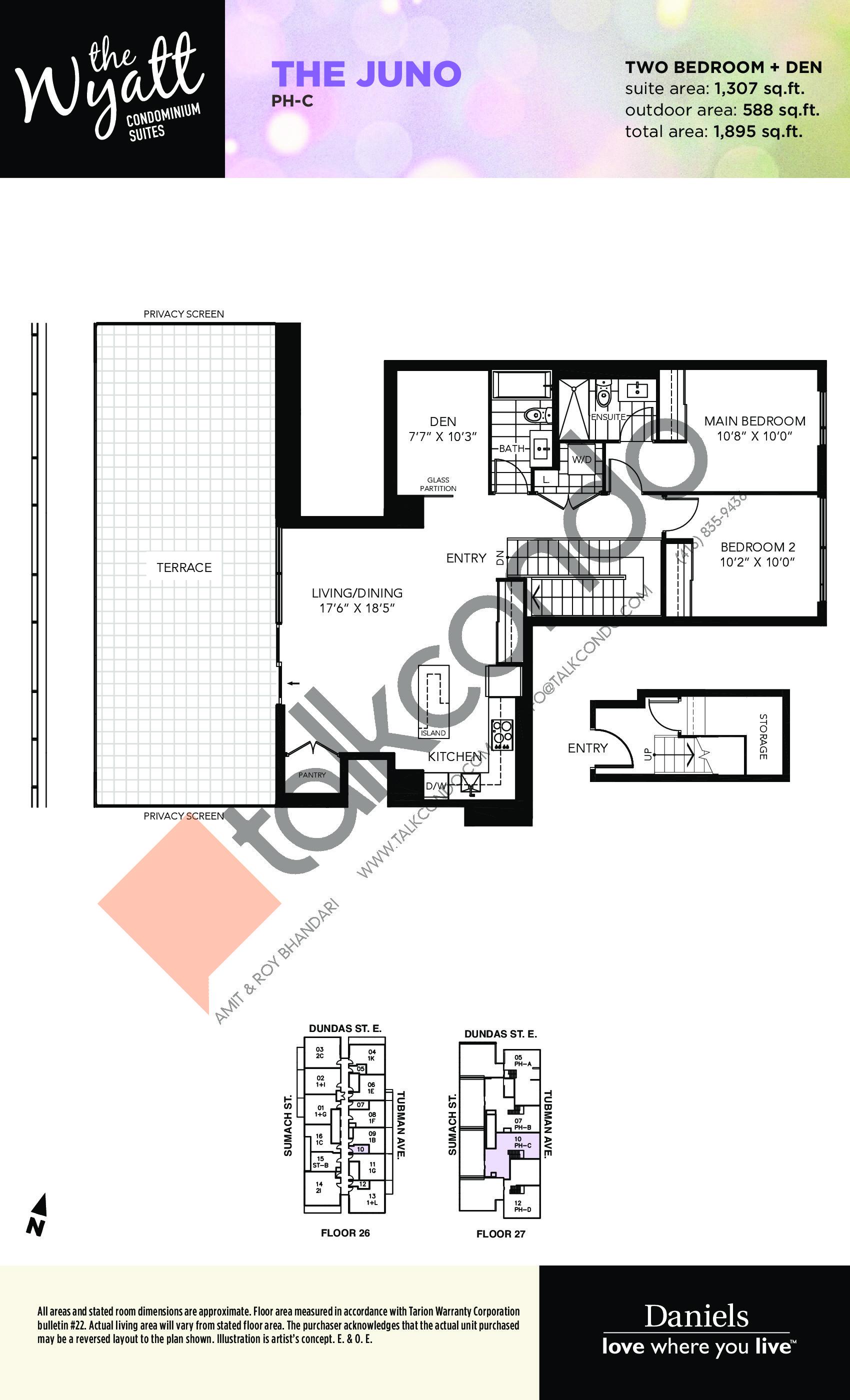 The Juno Floor Plan at The Wyatt Condos - 1307 sq.ft