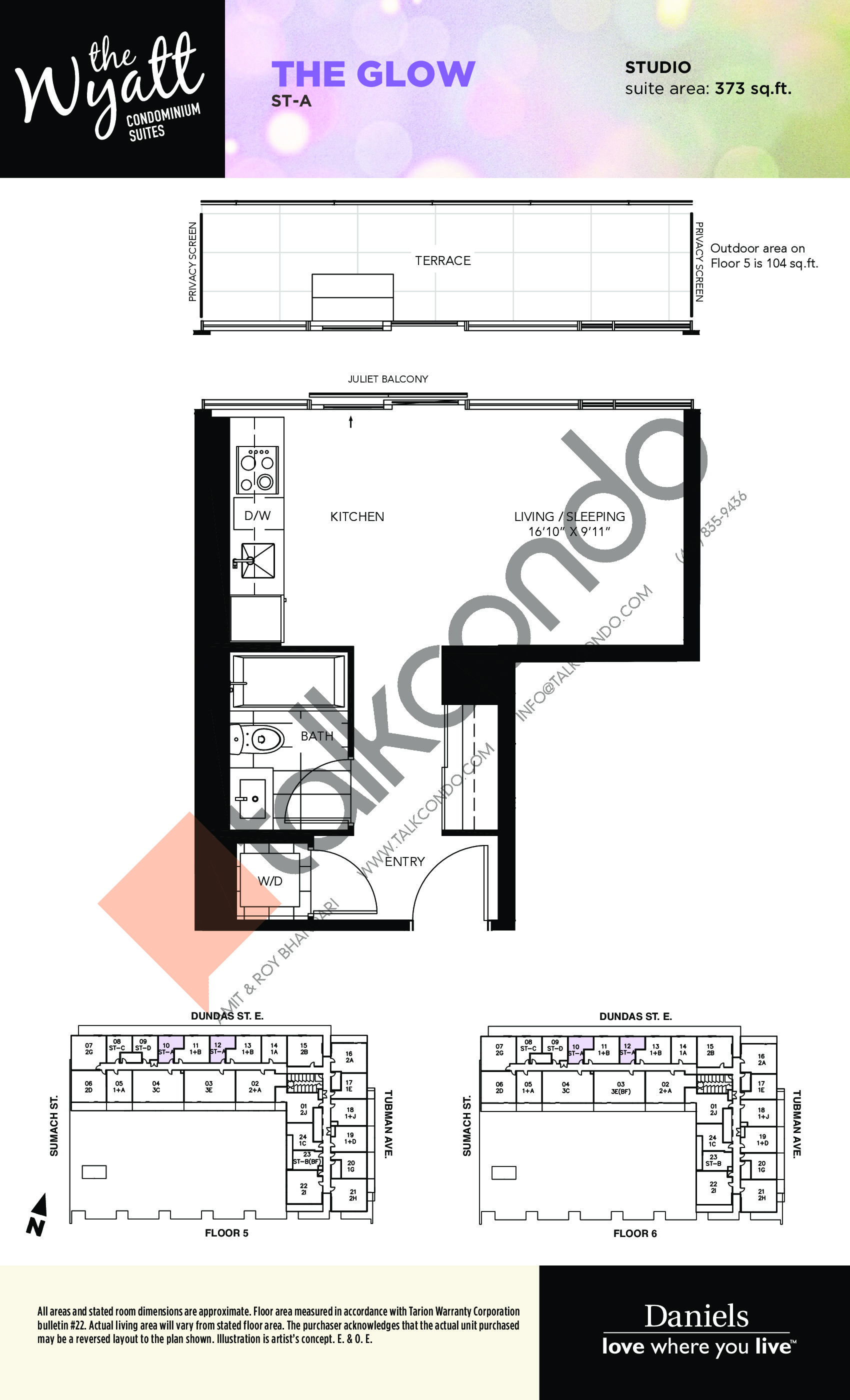 The Glow Floor Plan at The Wyatt Condos - 373 sq.ft