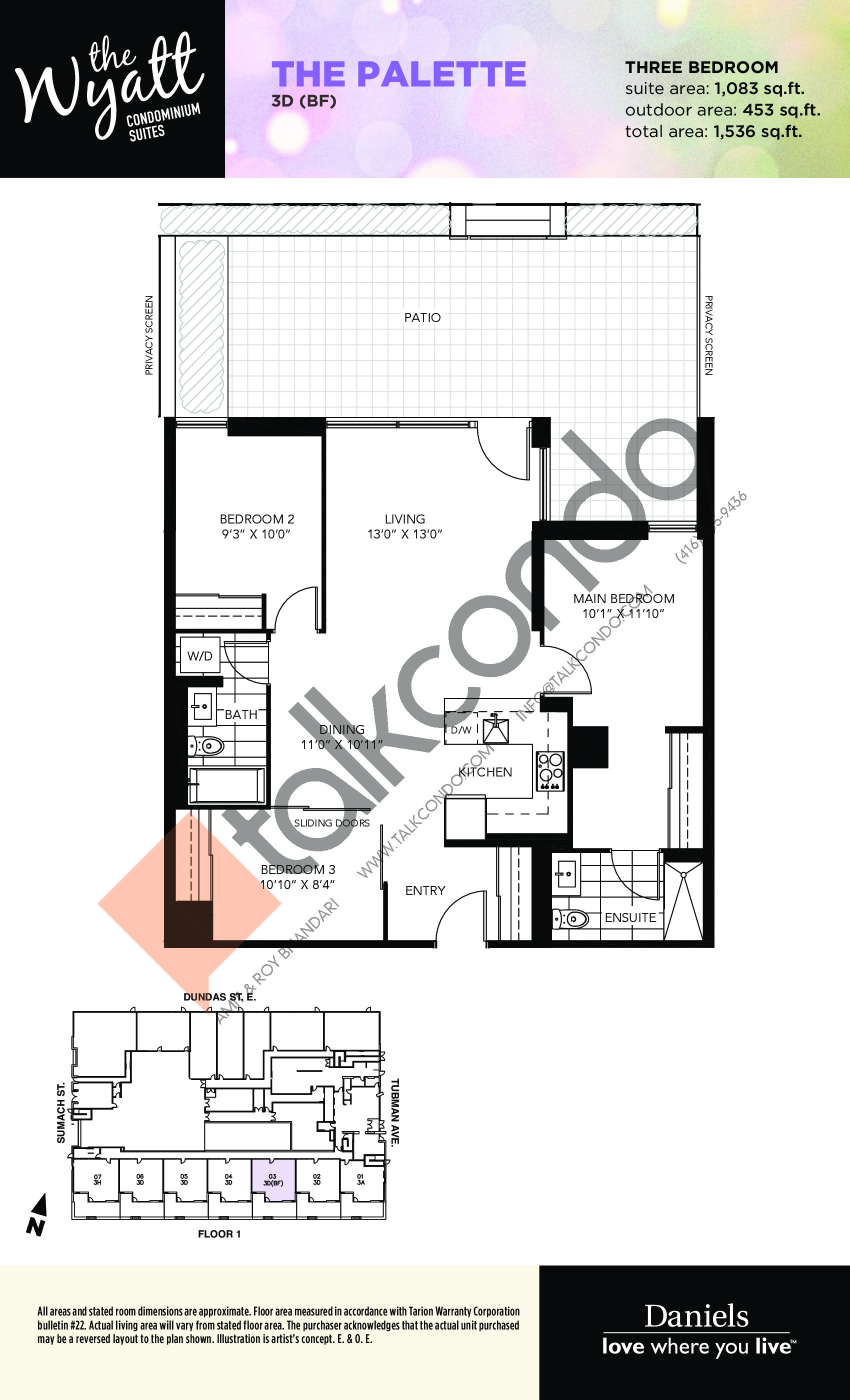 The Palette Floor Plan at The Wyatt Condos - 1083 sq.ft