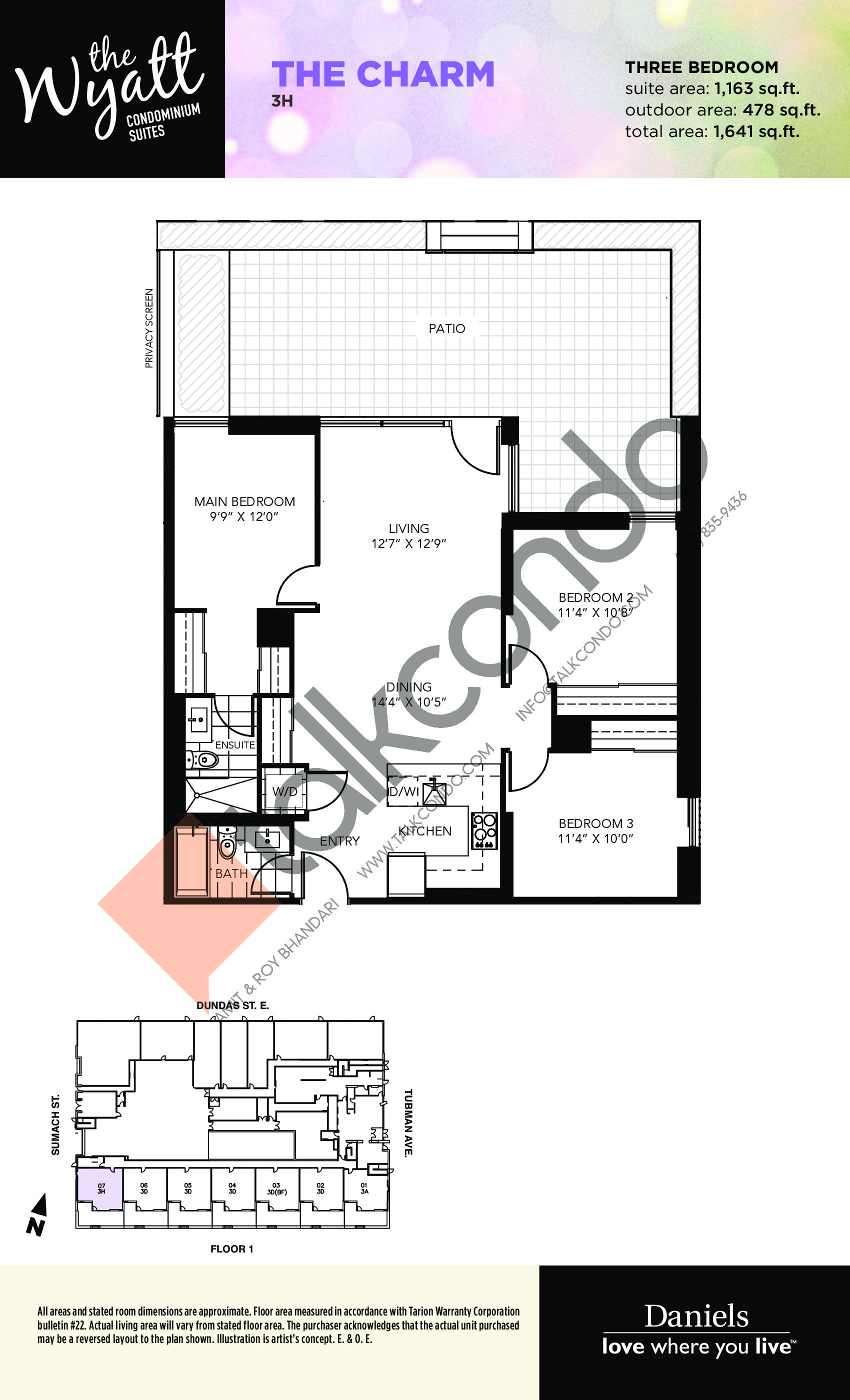The Charm Floor Plan at The Wyatt Condos - 1163 sq.ft