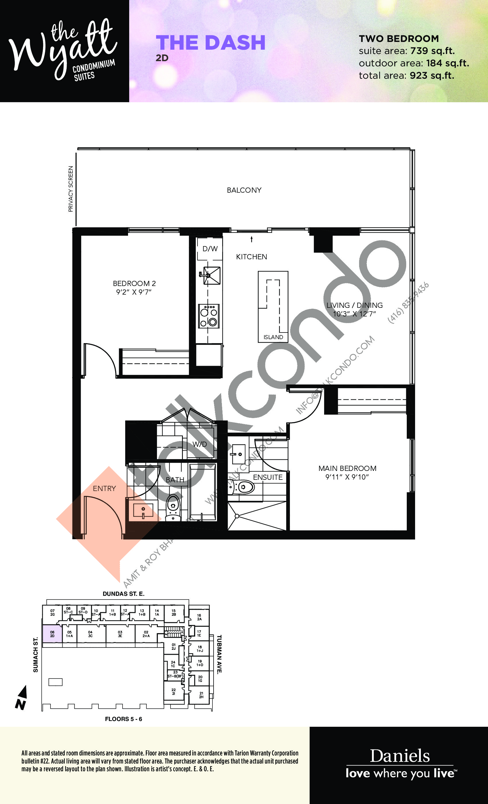 The Dash Floor Plan at The Wyatt Condos - 739 sq.ft