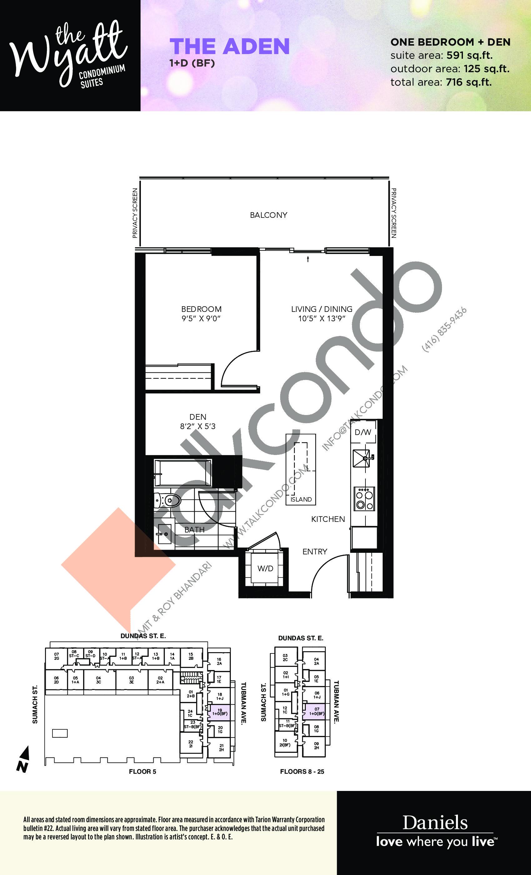 The Aden Floor Plan at The Wyatt Condos - 591 sq.ft