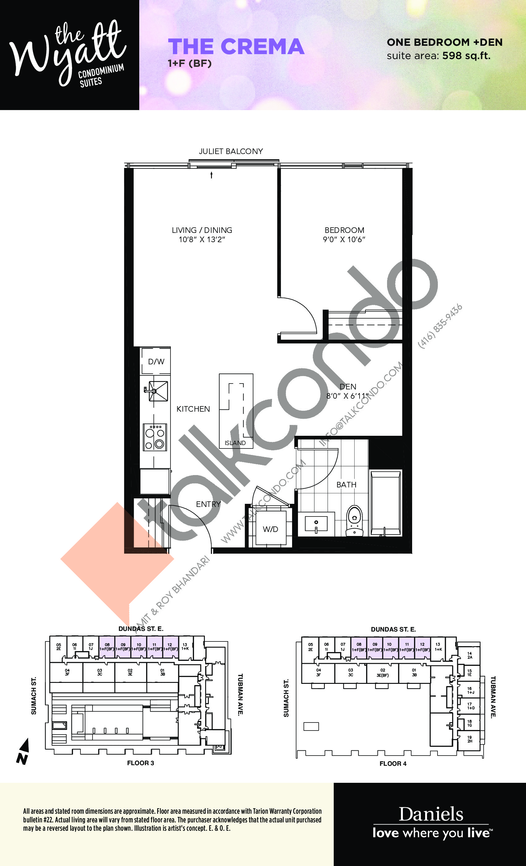 The Crema Floor Plan at The Wyatt Condos - 598 sq.ft