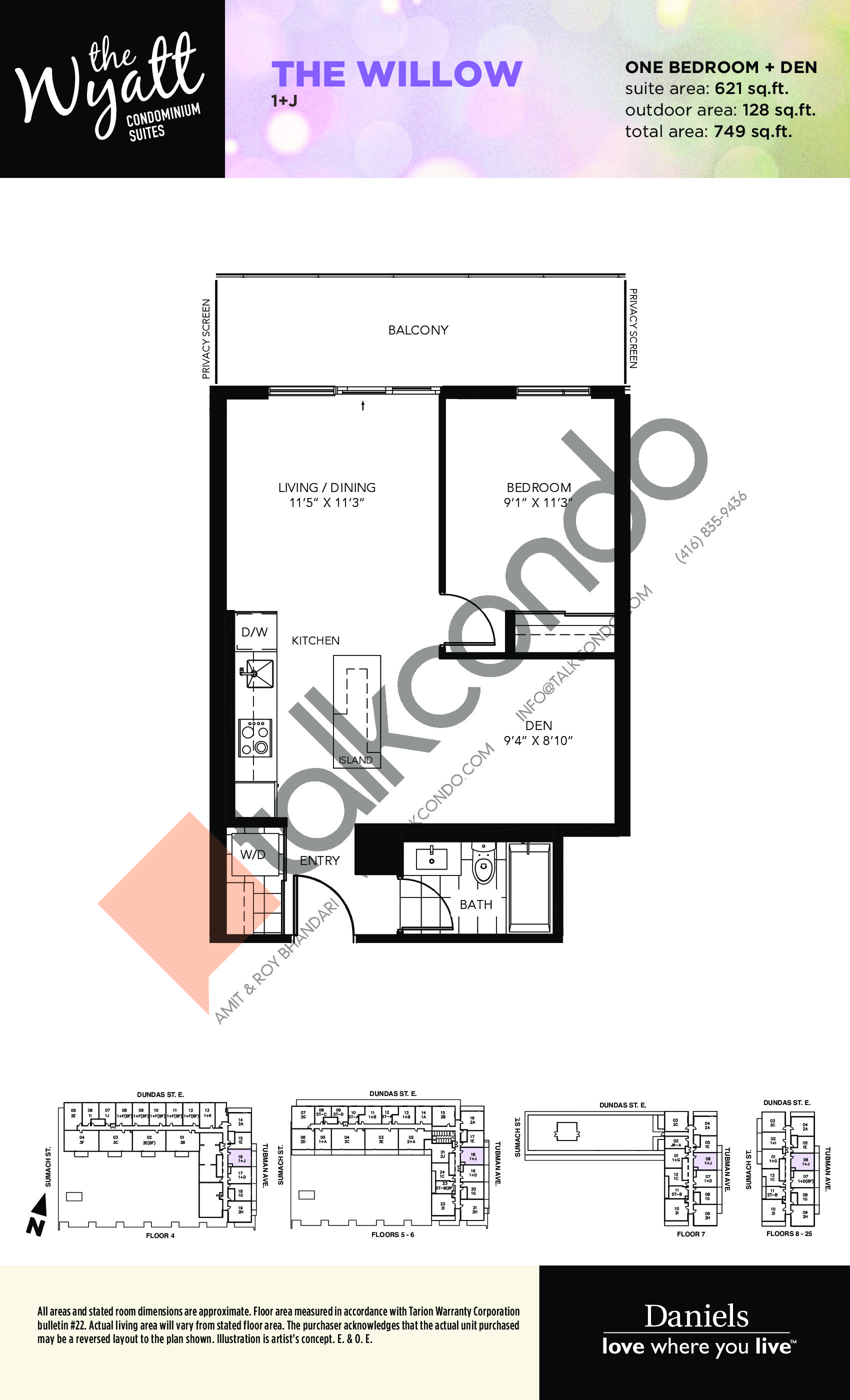 The Willow Floor Plan at The Wyatt Condos - 621 sq.ft