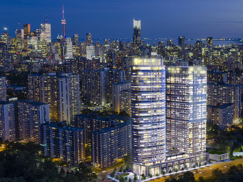 Aerial view of Via Bloor Condos overlooking Downtown Toronto