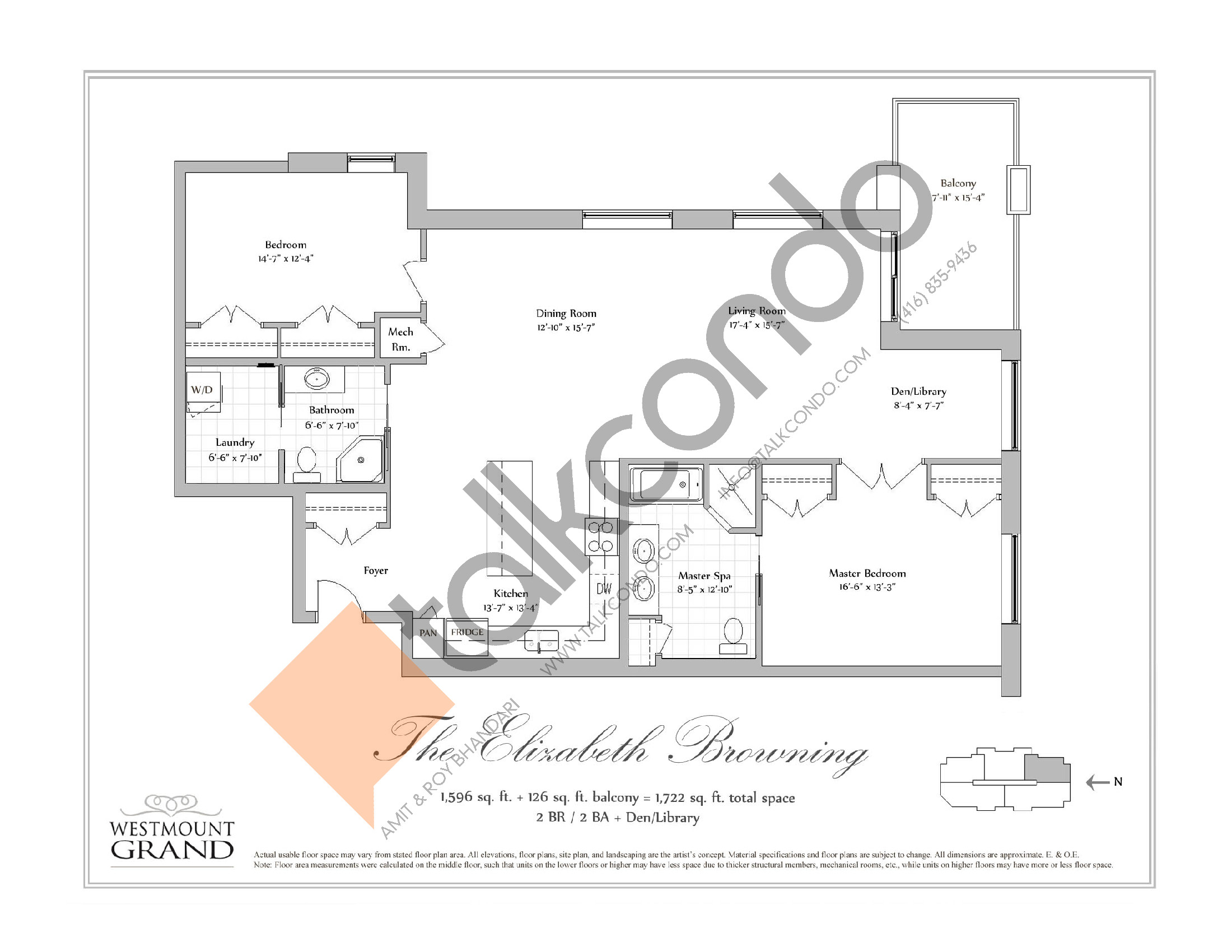The Elizabeth Browning Floor Plan at Westmount Grand Condos - 1596 sq.ft
