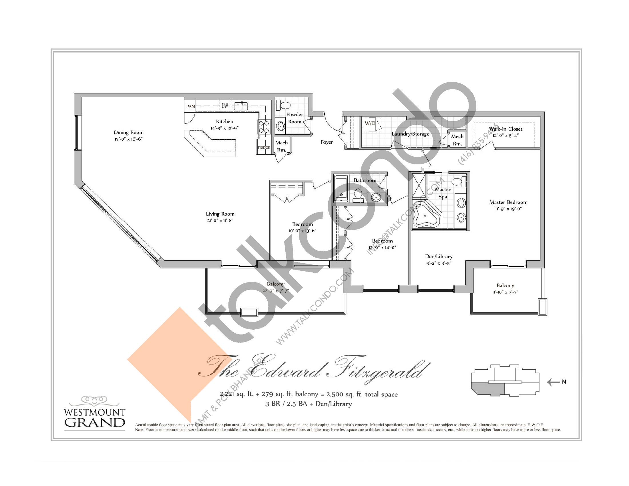 The Edward Fitzgerald Floor Plan at Westmount Grand Condos - 2221 sq.ft