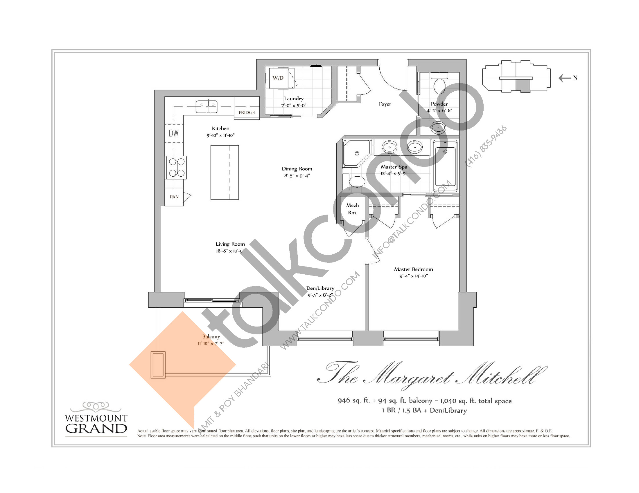 The Margaret Mitchell Floor Plan at Westmount Grand Condos - 946 sq.ft
