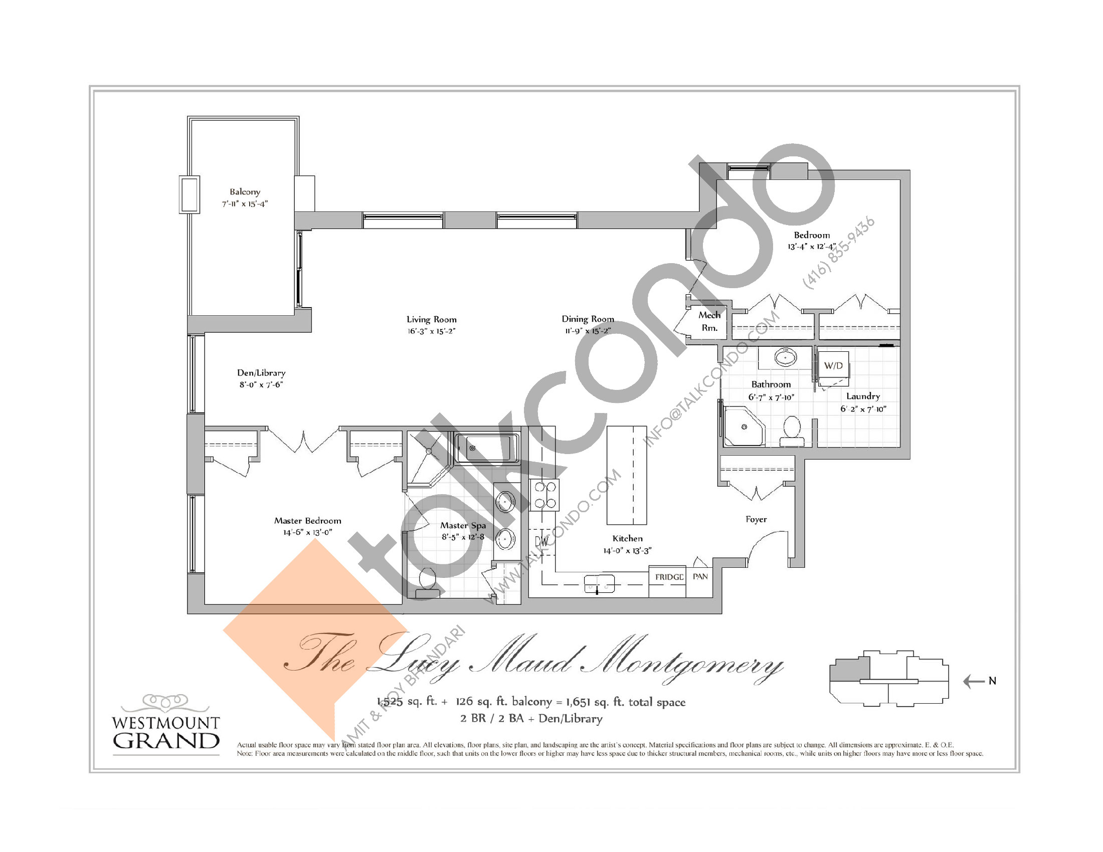 The Lucy Maud Montgomery Floor Plan at Westmount Grand Condos - 1525 sq.ft