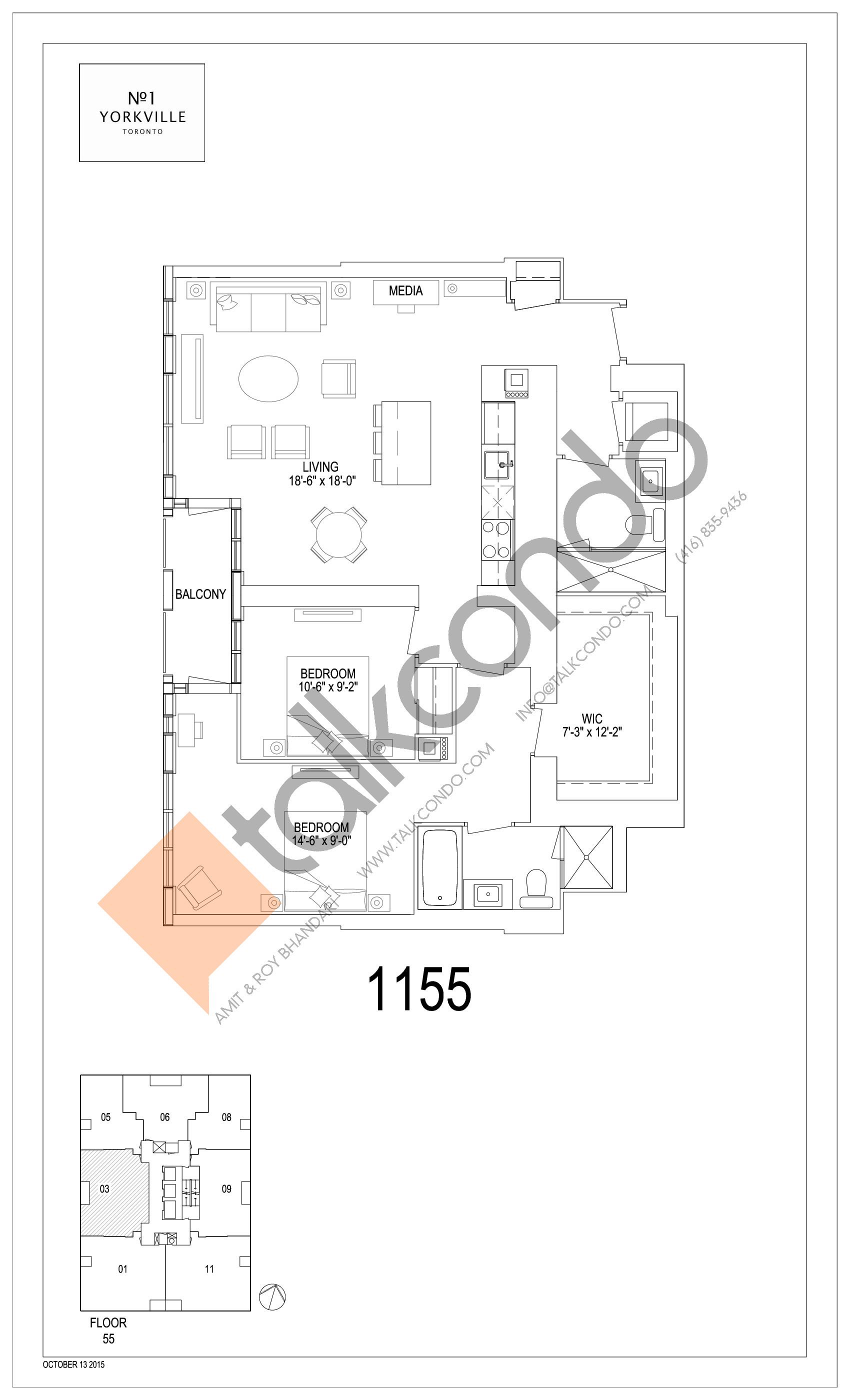 1155 Floor Plan at 1 Yorkville Condos - 1155 sq.ft