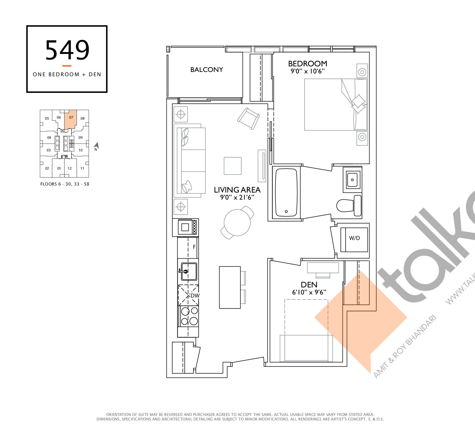549 Floor Plan at 1 Yorkville Condos - 549 sq.ft