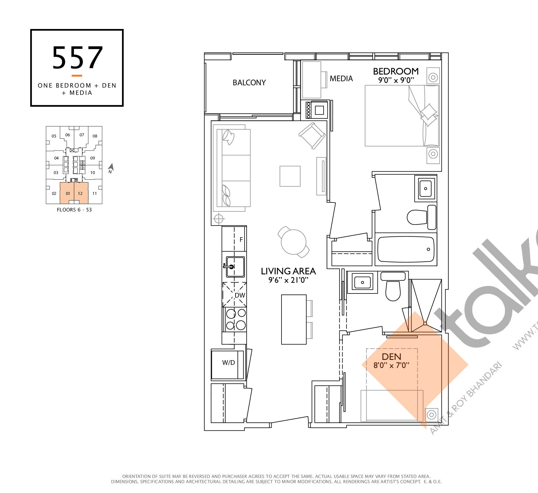 557 Floor Plan at 1 Yorkville Condos - 557 sq.ft