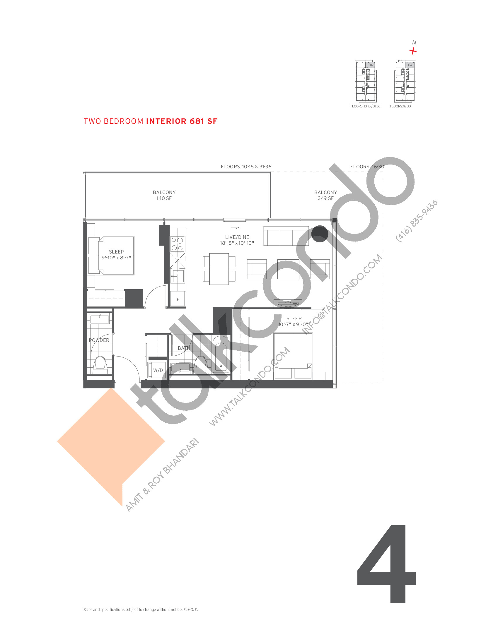 4 Floor Plan at 155 Redpath Condos - 681 sq.ft