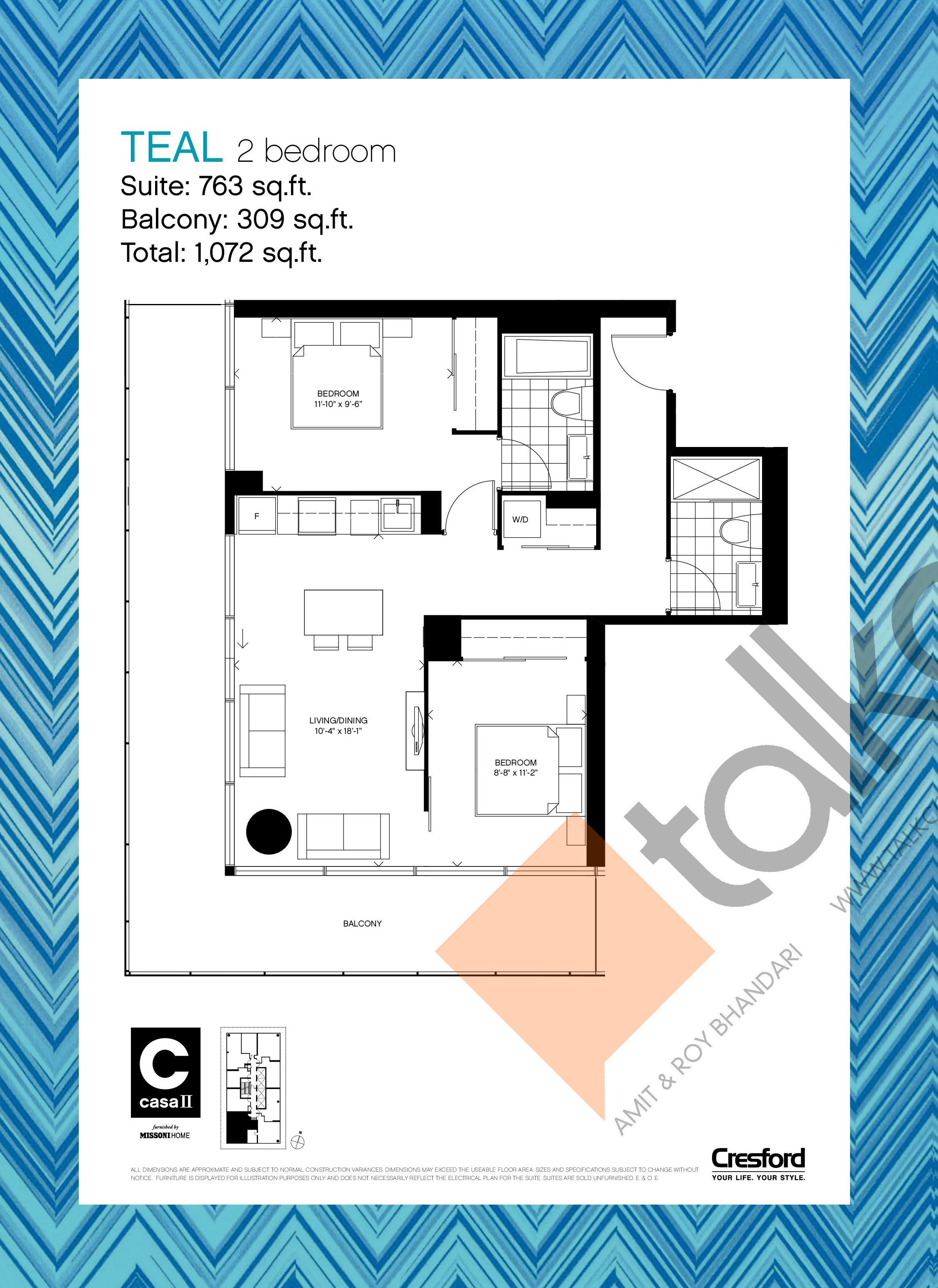 Casa 2 Condos Talkcondo Bedroom Electrical Plan Teal Floor At 763 Sqft
