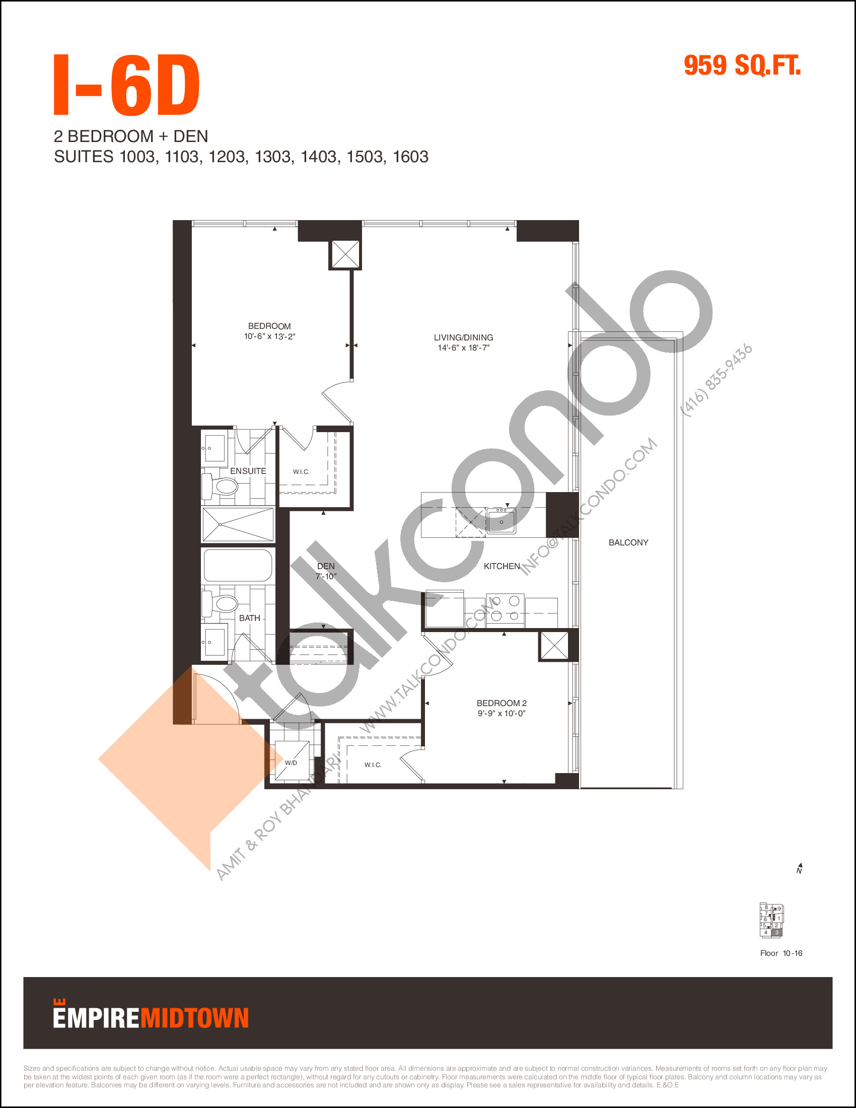 I-6D Floor Plan at Empire Midtown Condos - 959 sq.ft