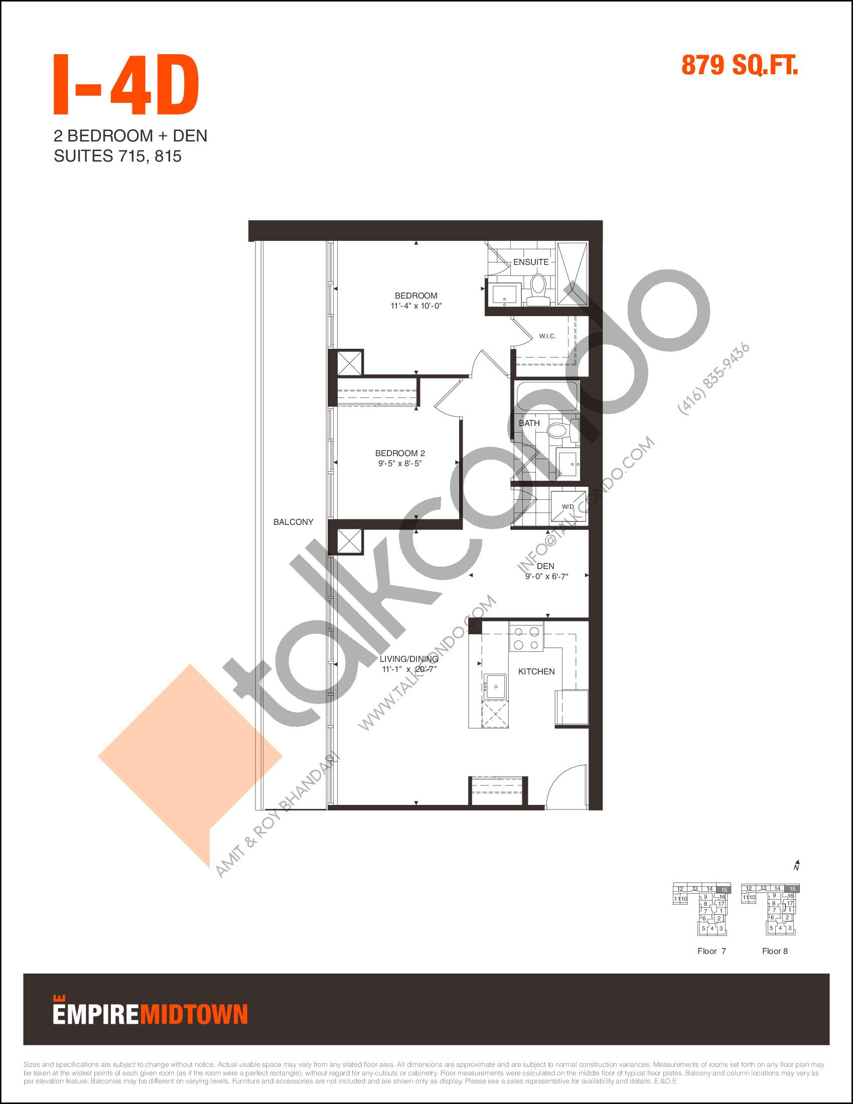 I-4D Floor Plan at Empire Midtown Condos - 879 sq.ft