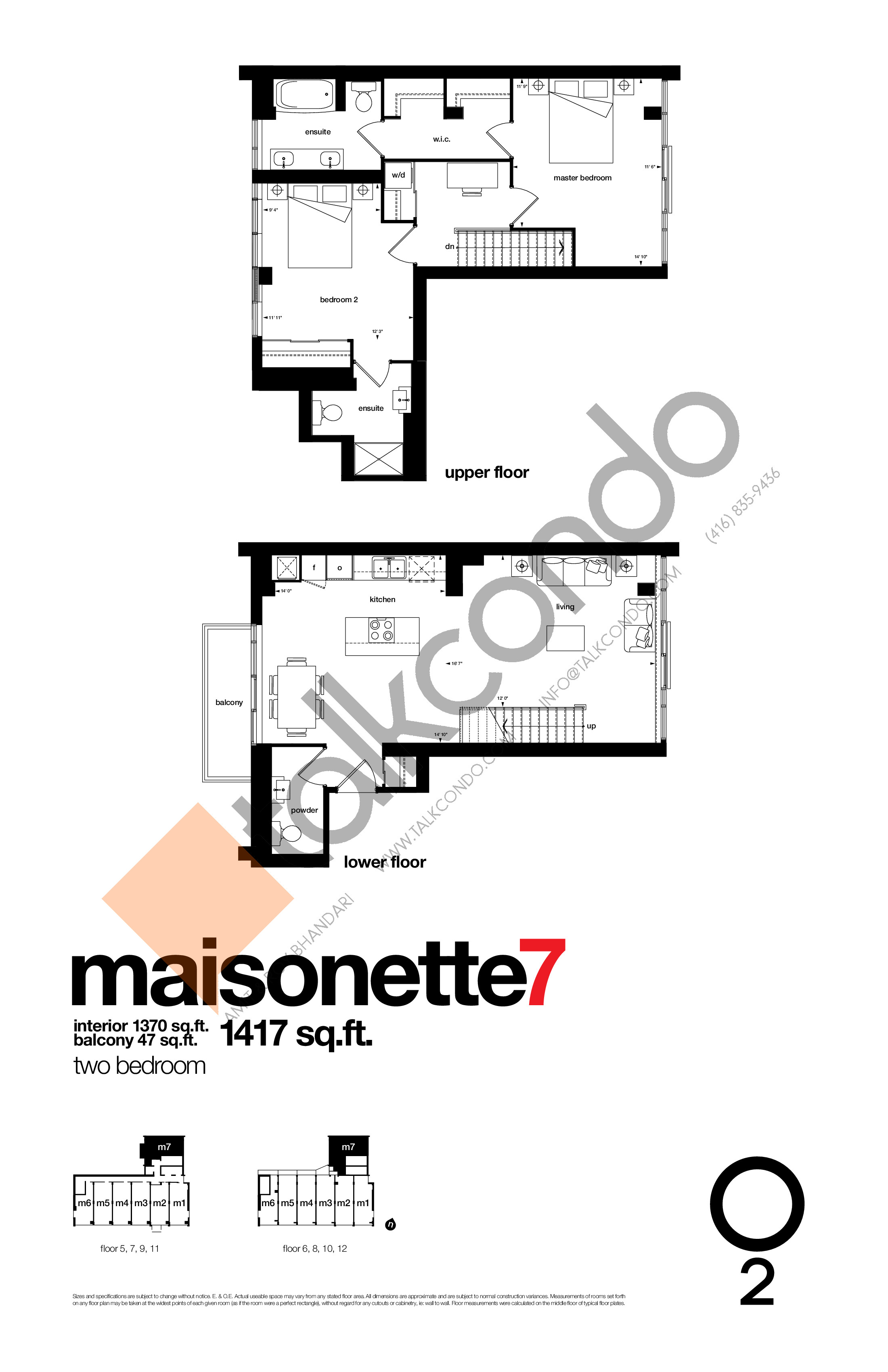 Maisonette7 Floor Plan at O2 Maisonettes on George Condos - 1370 sq.ft