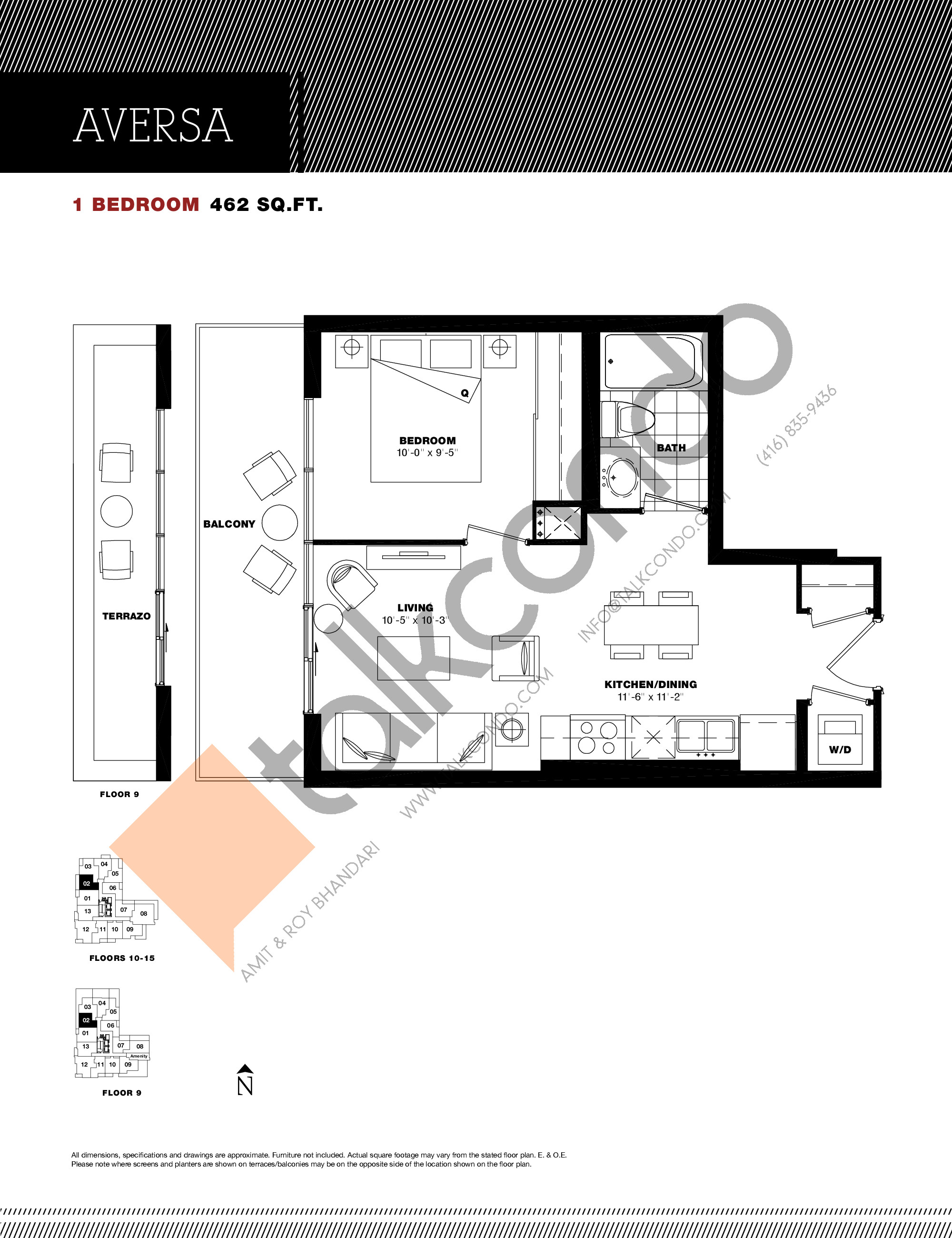 Aversa Floor Plan at Residenze Palazzo at Treviso 3 Condos - 462 sq.ft