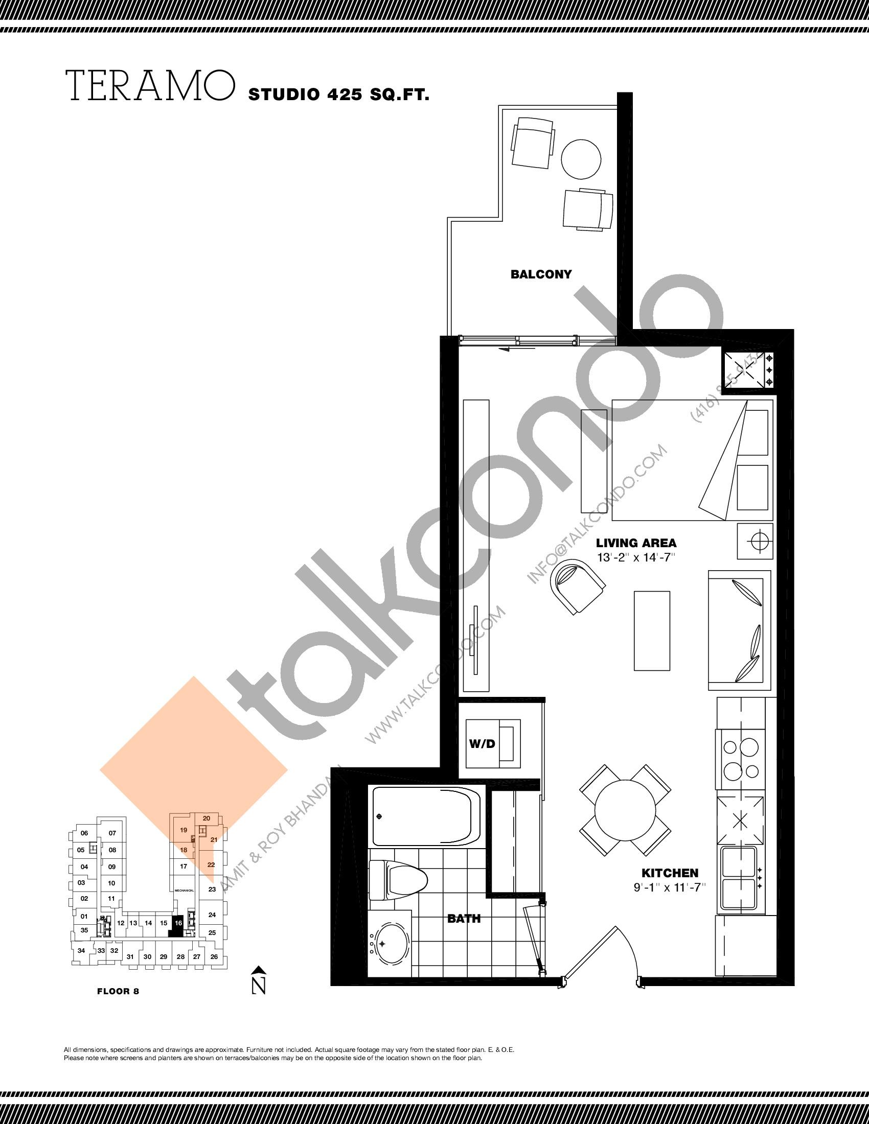 Teramo Floor Plan at Residenze Palazzo at Treviso 3 Condos - 425 sq.ft