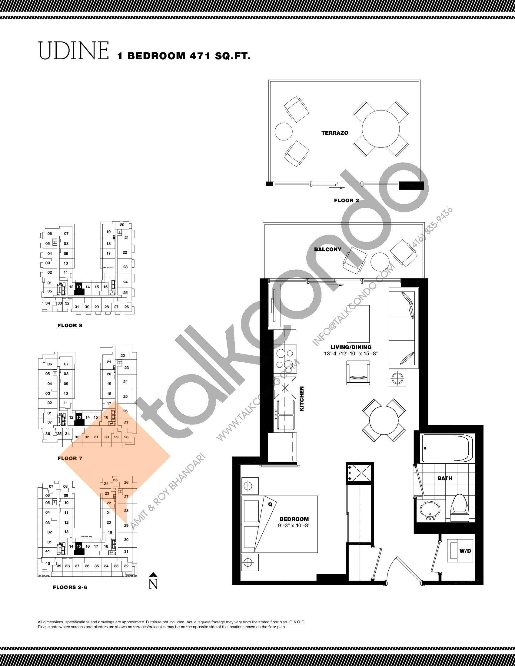 Udine Floor Plan at Residenze Palazzo at Treviso 3 Condos - 471 sq.ft