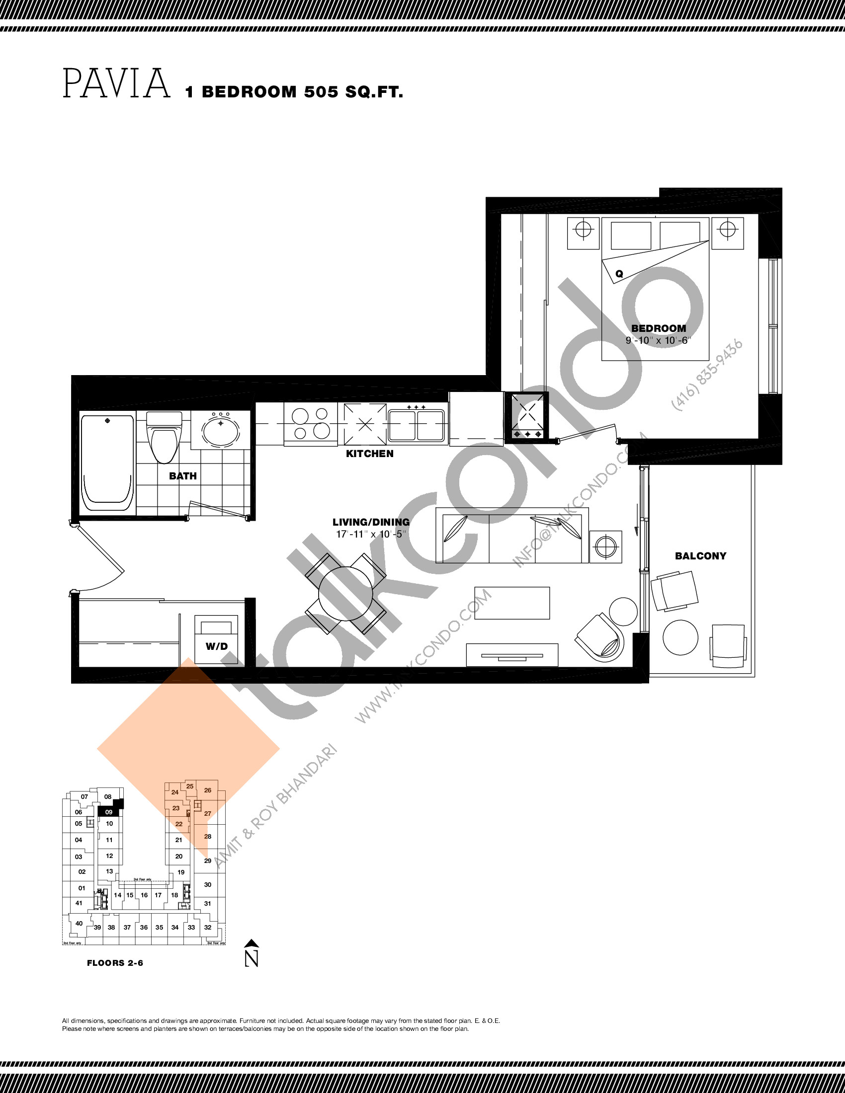 Pavia Floor Plan at Residenze Palazzo at Treviso 3 Condos - 505 sq.ft