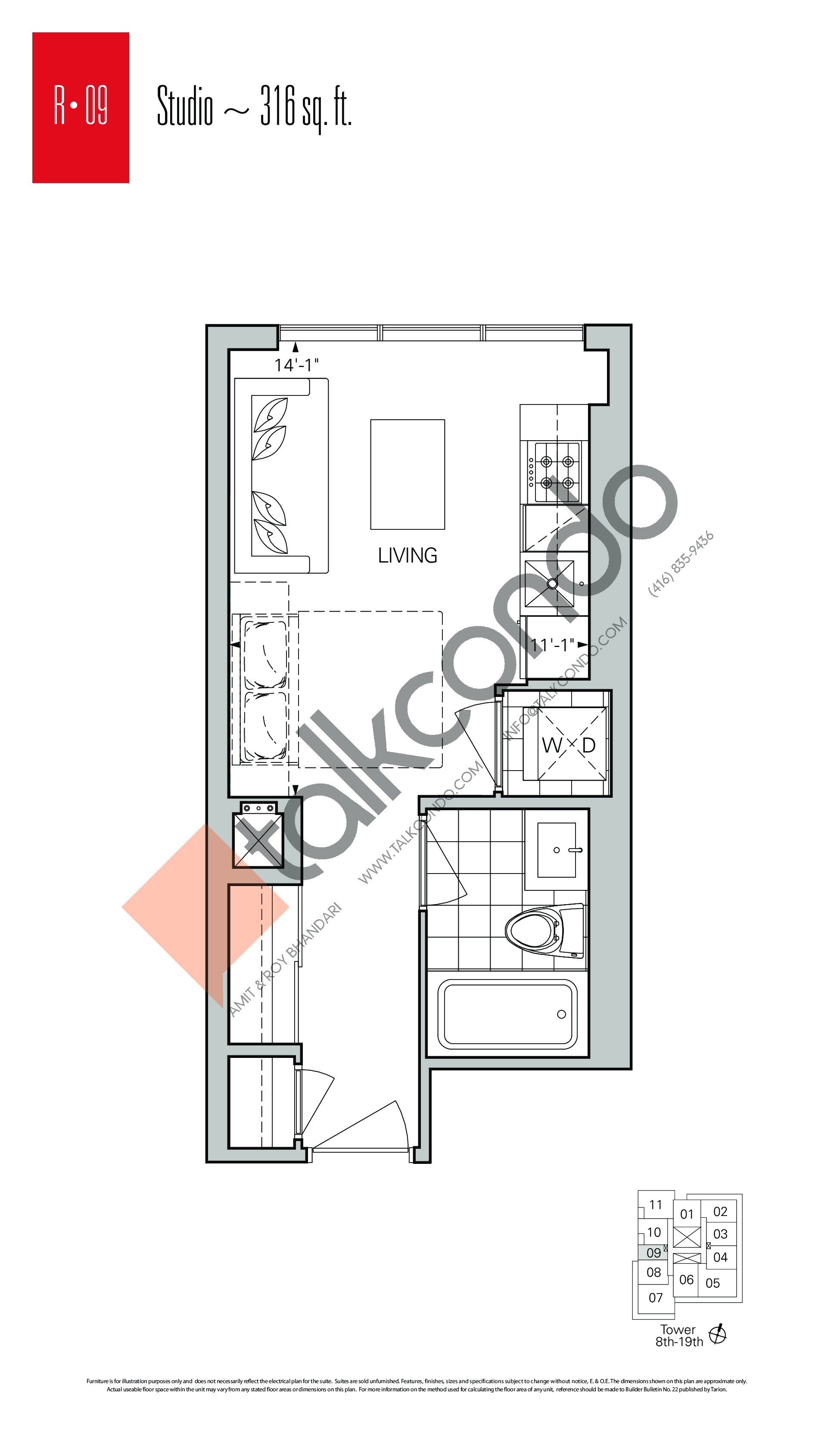 R-09 Floor Plan at Rise Condos - 316 sq.ft